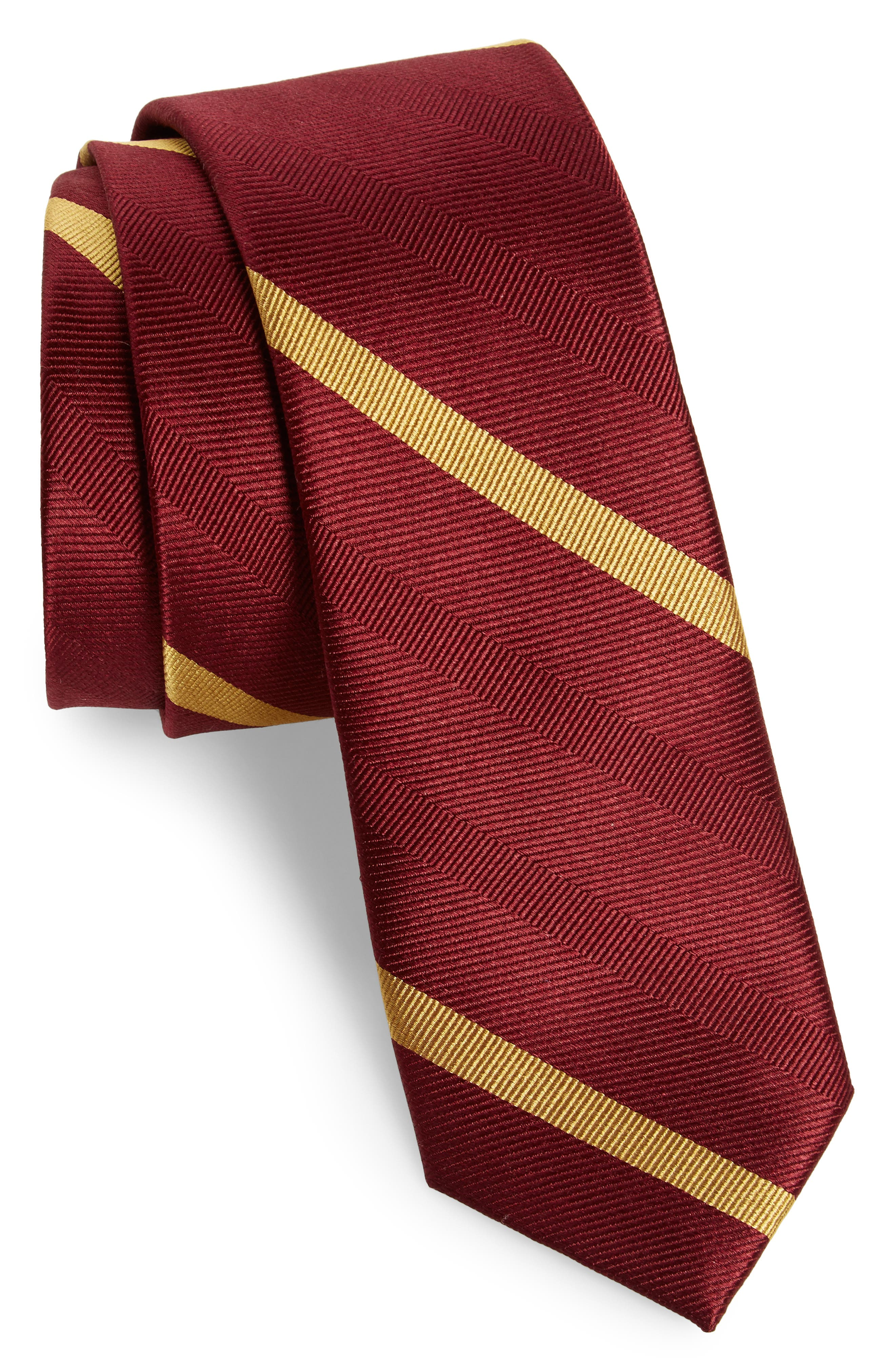 Main Image - The Tie Bar Goal Line Stripe Silk Skinny Tie