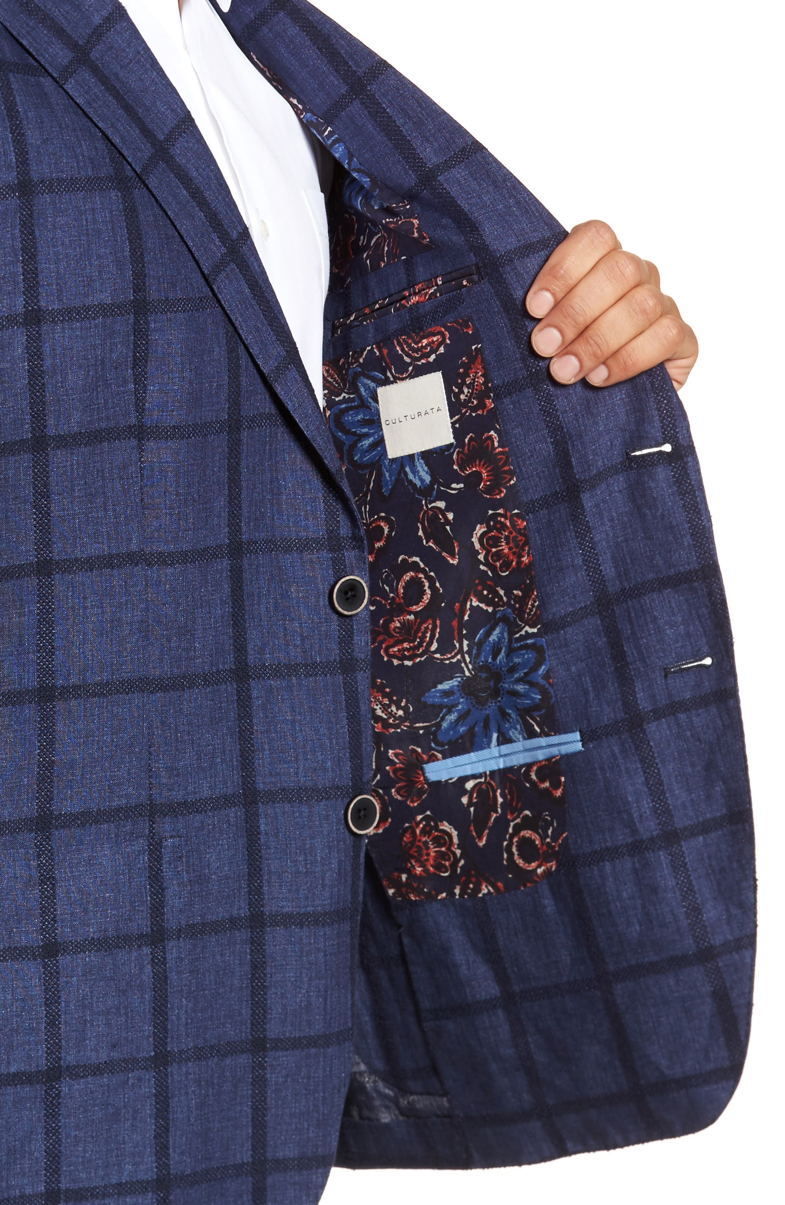 Trim Fit Windowpane Linen Blend Sport Coat,                             Alternate thumbnail 4, color,                             Navy