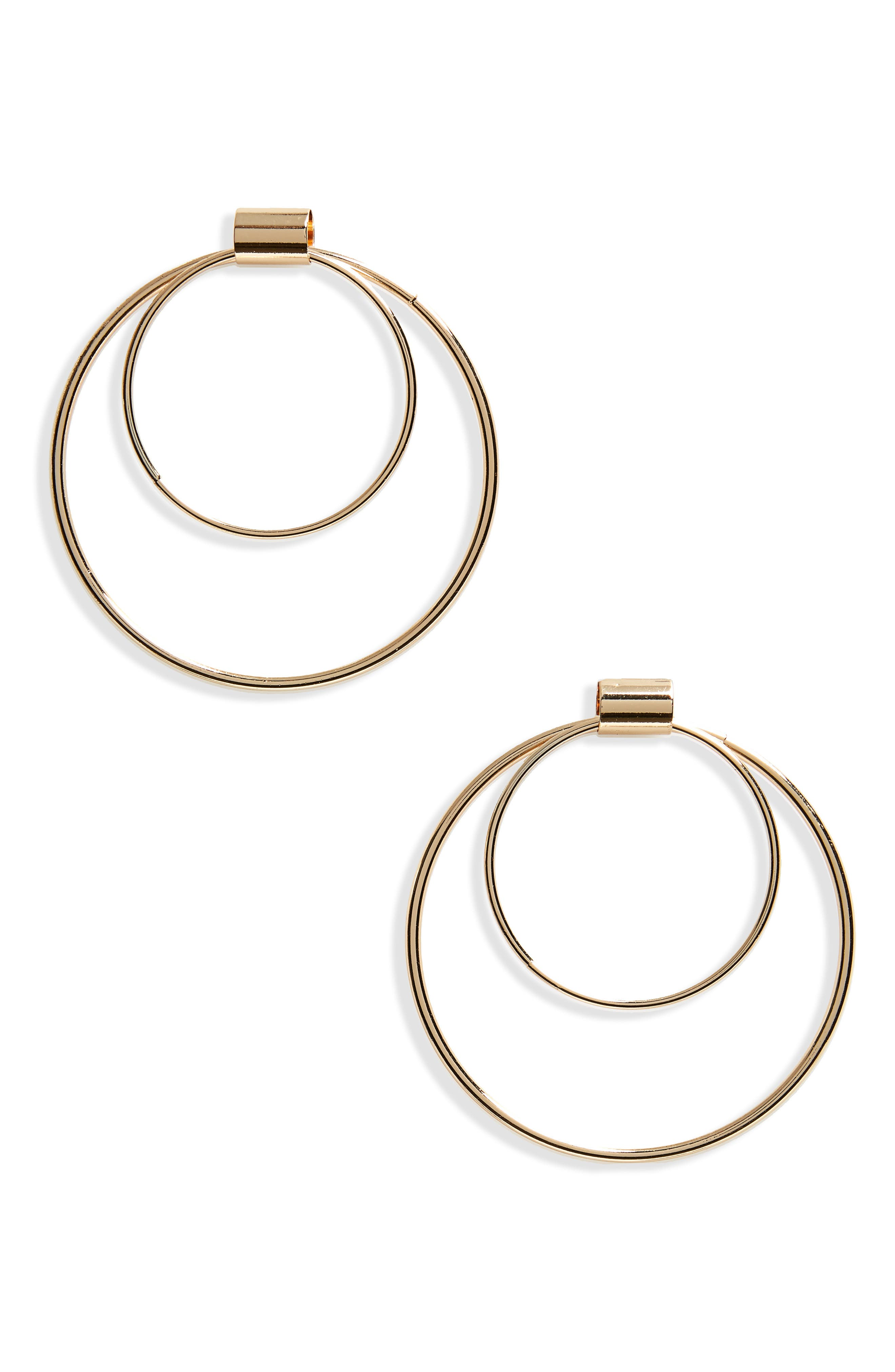 Double Hoop Earrings,                         Main,                         color, Gold