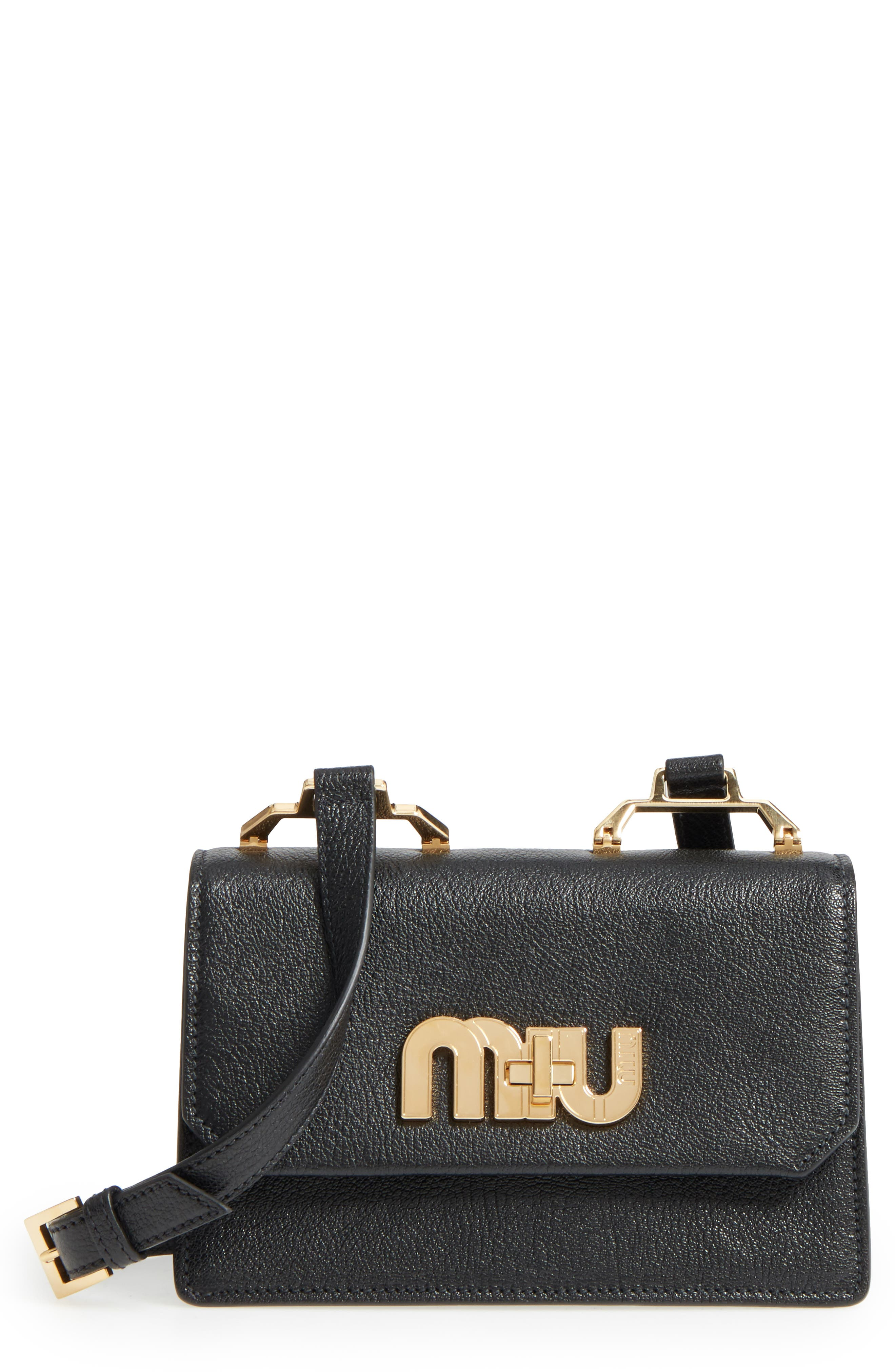 Madras Leather Crossbody Bag,                             Main thumbnail 1, color,                             Nero