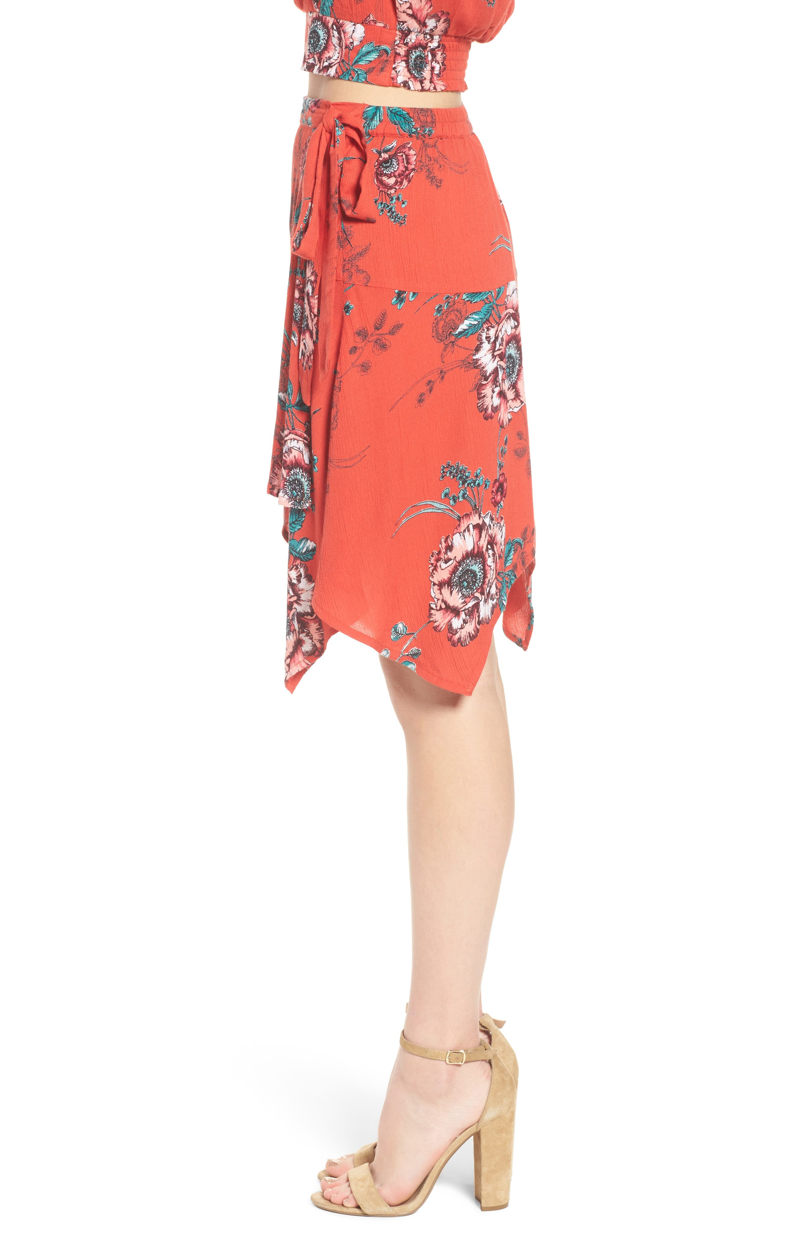 Shadow Floral Faux Wrap Skirt,                             Alternate thumbnail 4, color,                             Red/ Peach