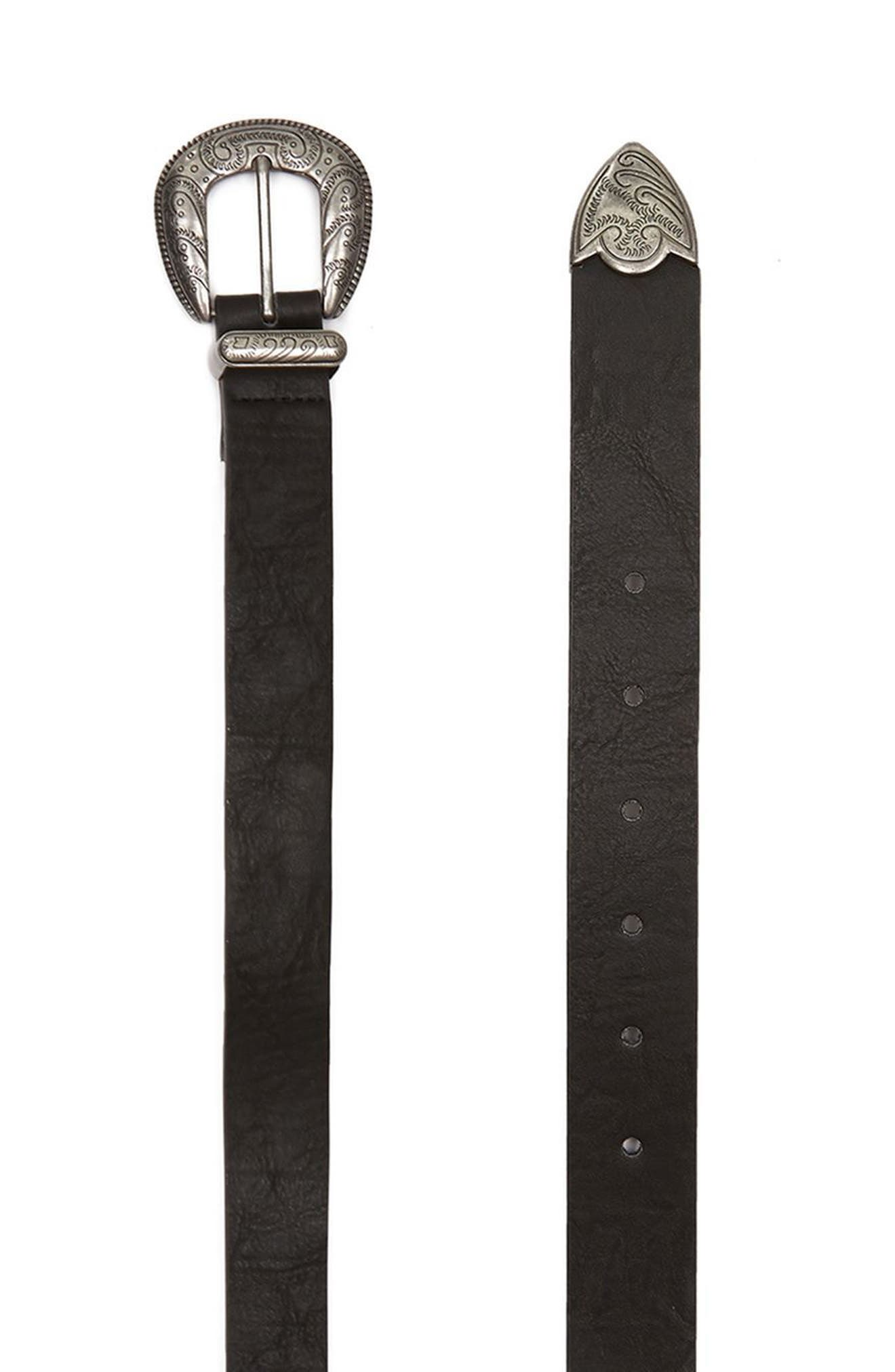 Western Style Faux Leather Belt,                         Main,                         color, Black