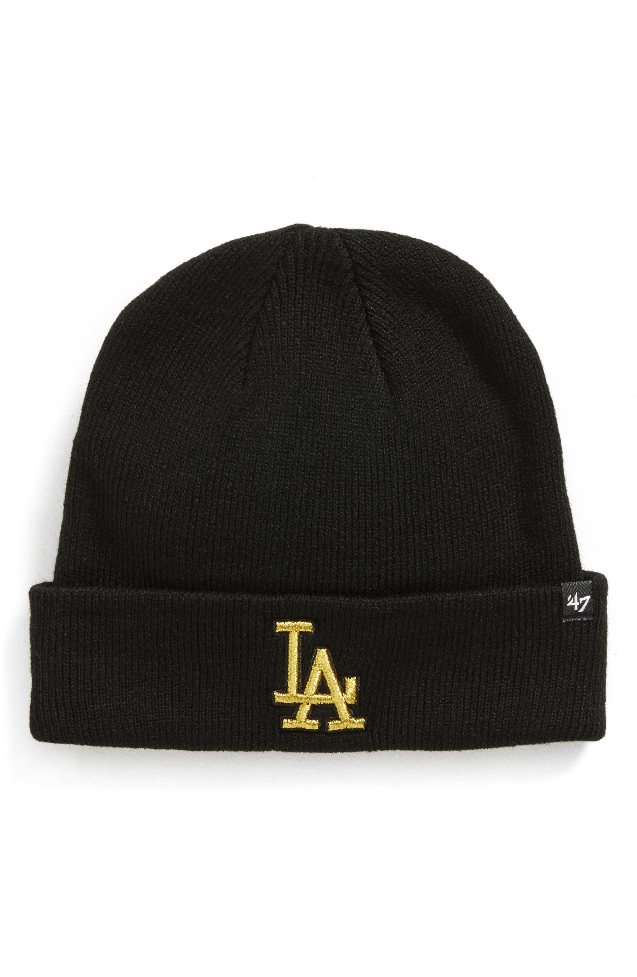 Los Angeles Dodgers Metallic Beanie,                             Main thumbnail 1, color,                             Black