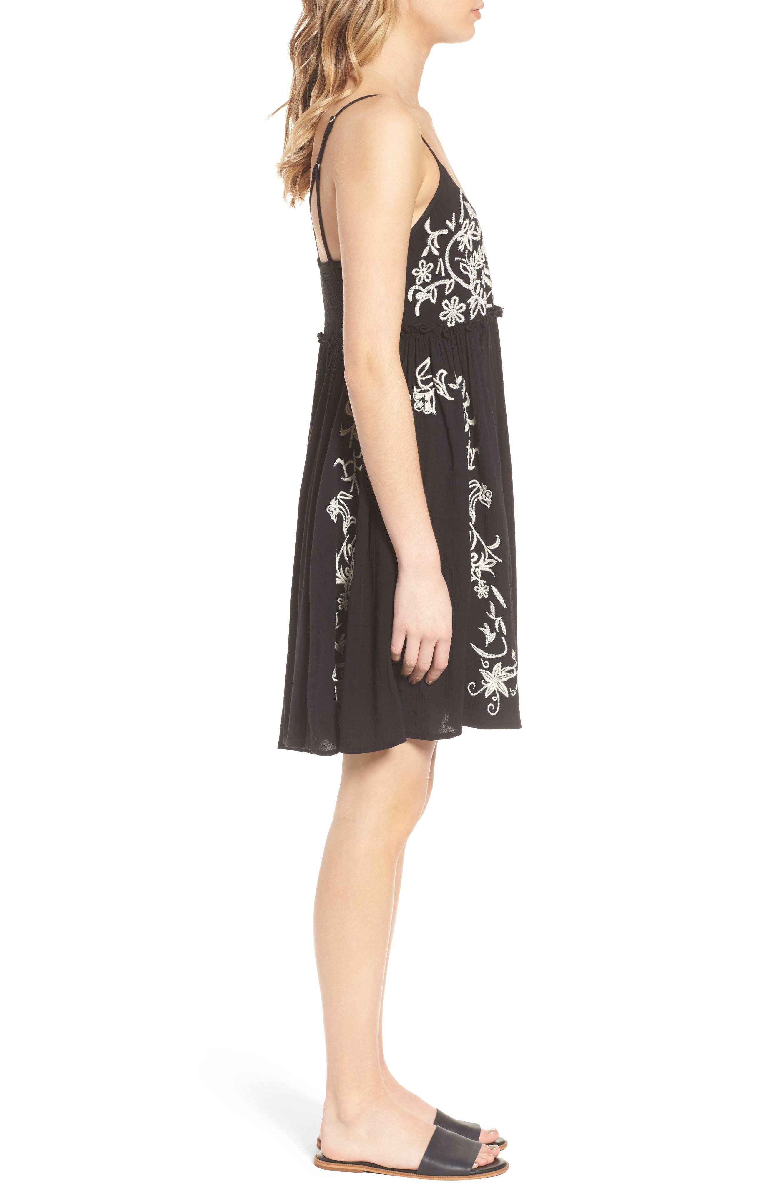 Embroidered Babydoll Dress,                             Alternate thumbnail 4, color,                             Black/ Ivory