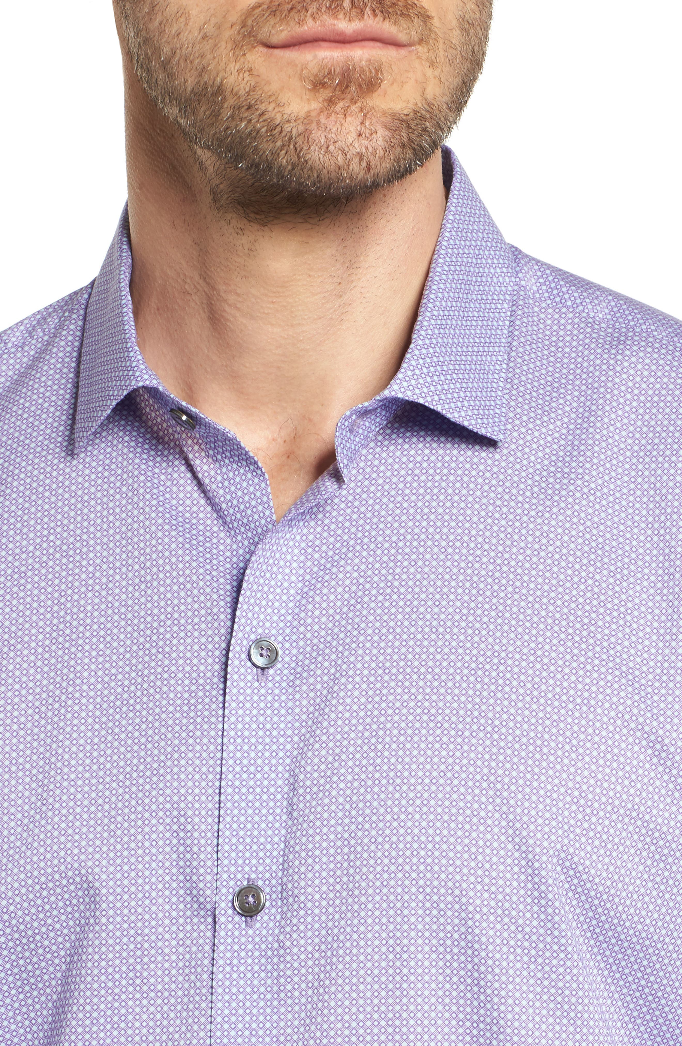 O'Malley Circle Print Sport Shirt,                             Alternate thumbnail 4, color,                             Purple