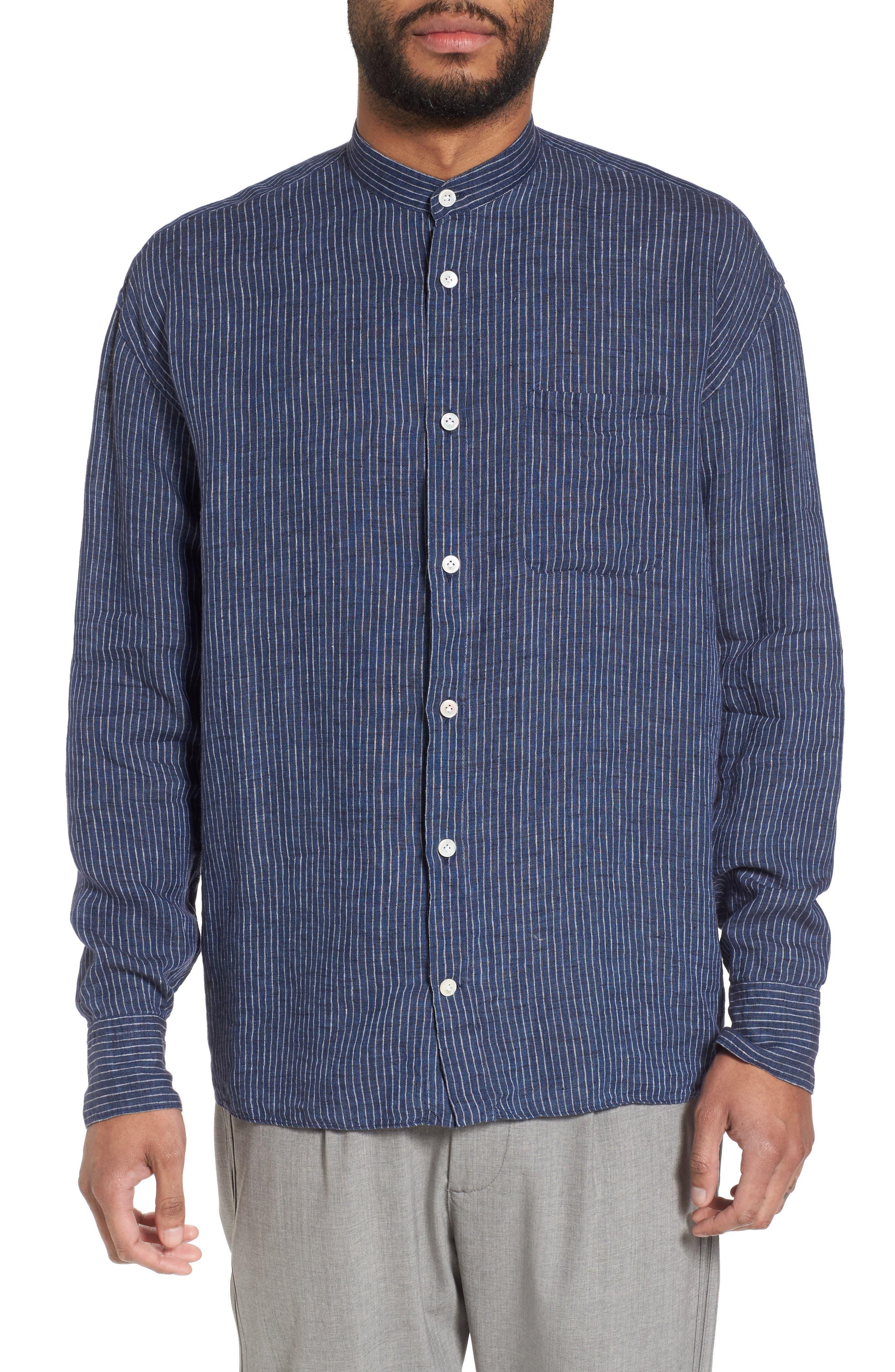 Railroad Stripe Linen Sport Shirt,                         Main,                         color, Navy