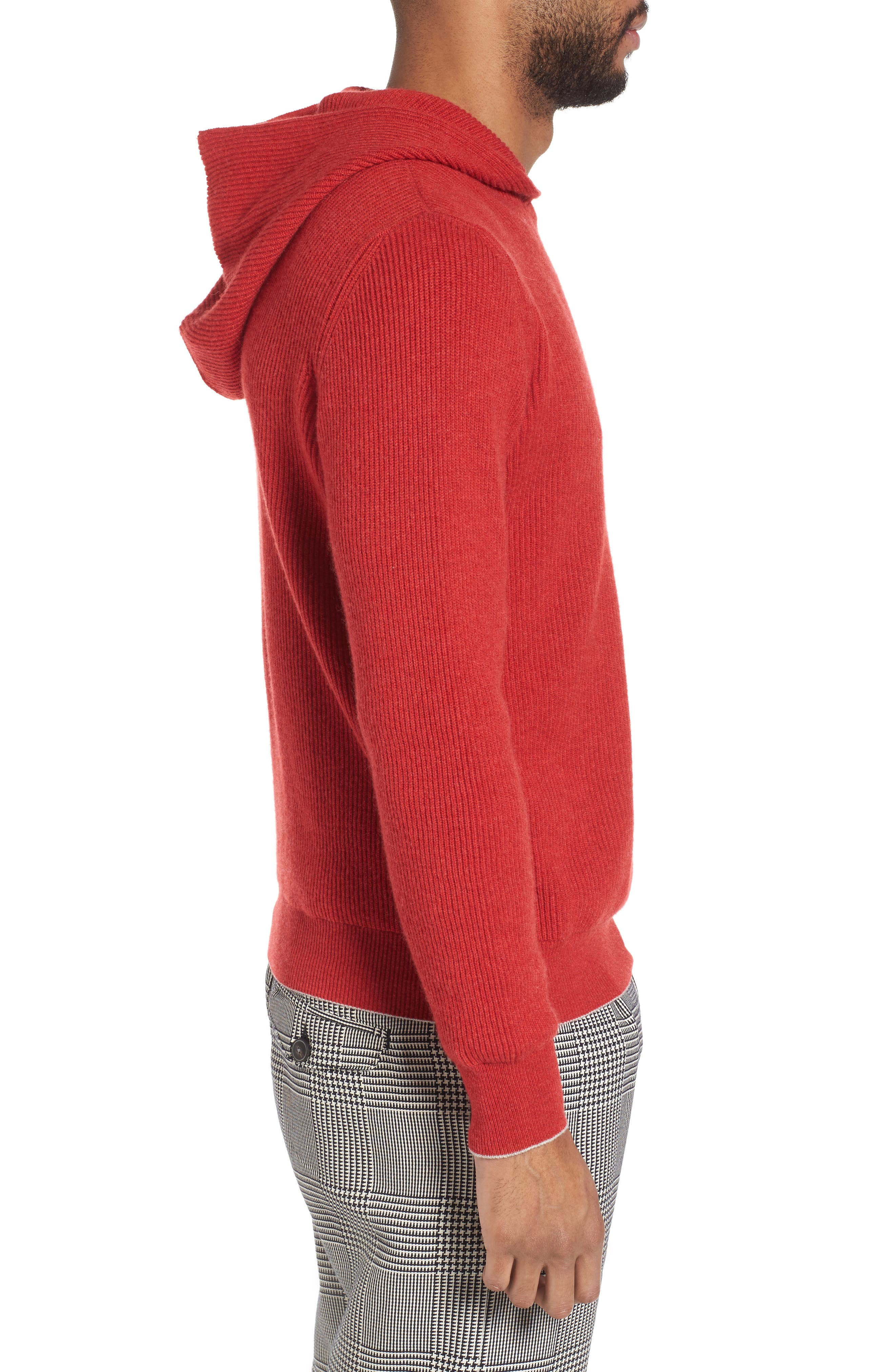 Cashmere Hoodie,                             Alternate thumbnail 3, color,                             Red