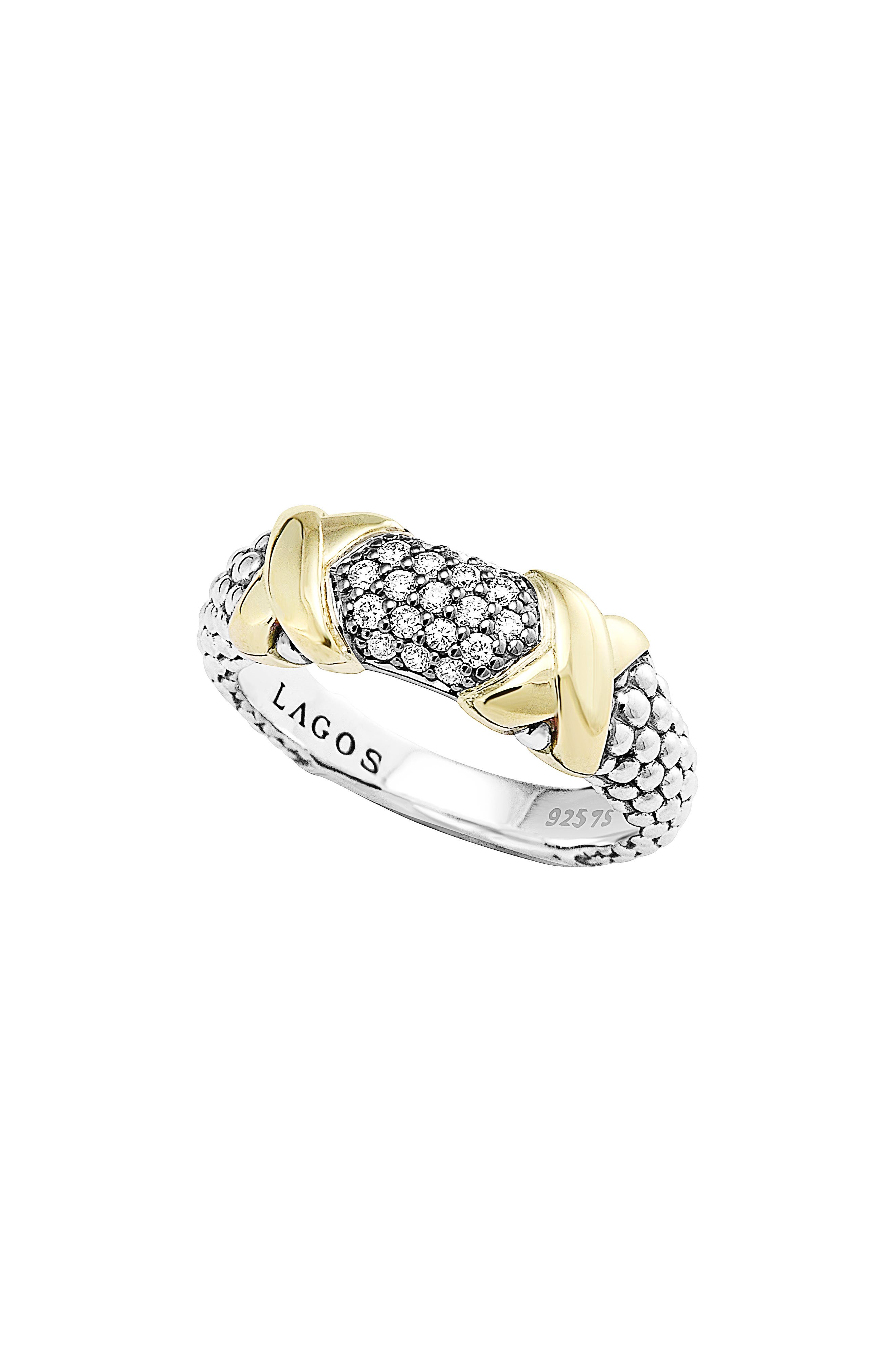 'Diamond Luxe' Ring,                             Main thumbnail 1, color,                             Silver/ Gold