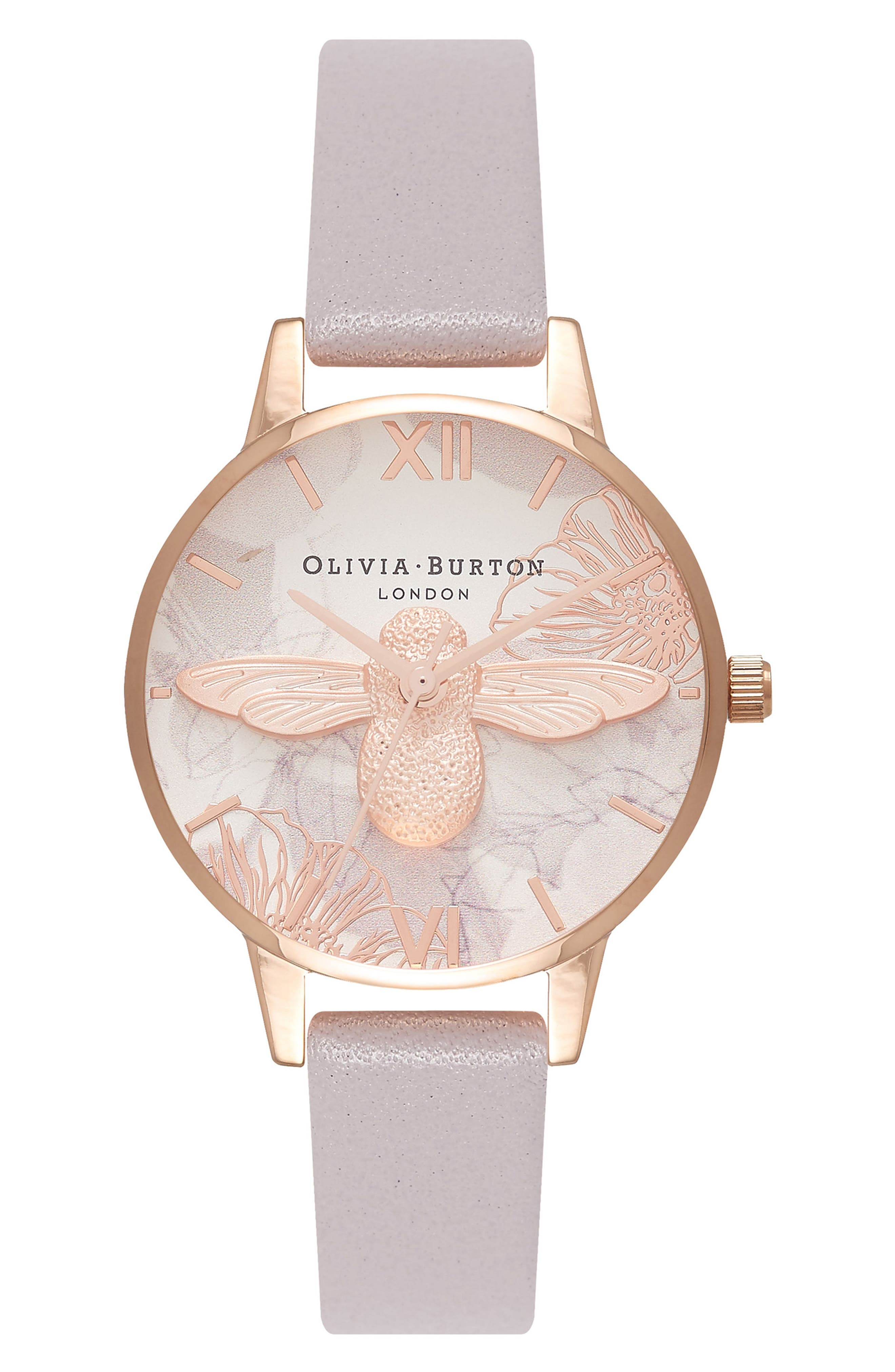Abstract Florals Leather Strap Watch, 30mm,                         Main,                         color, Grey Lilac/ White/ Rose Gold
