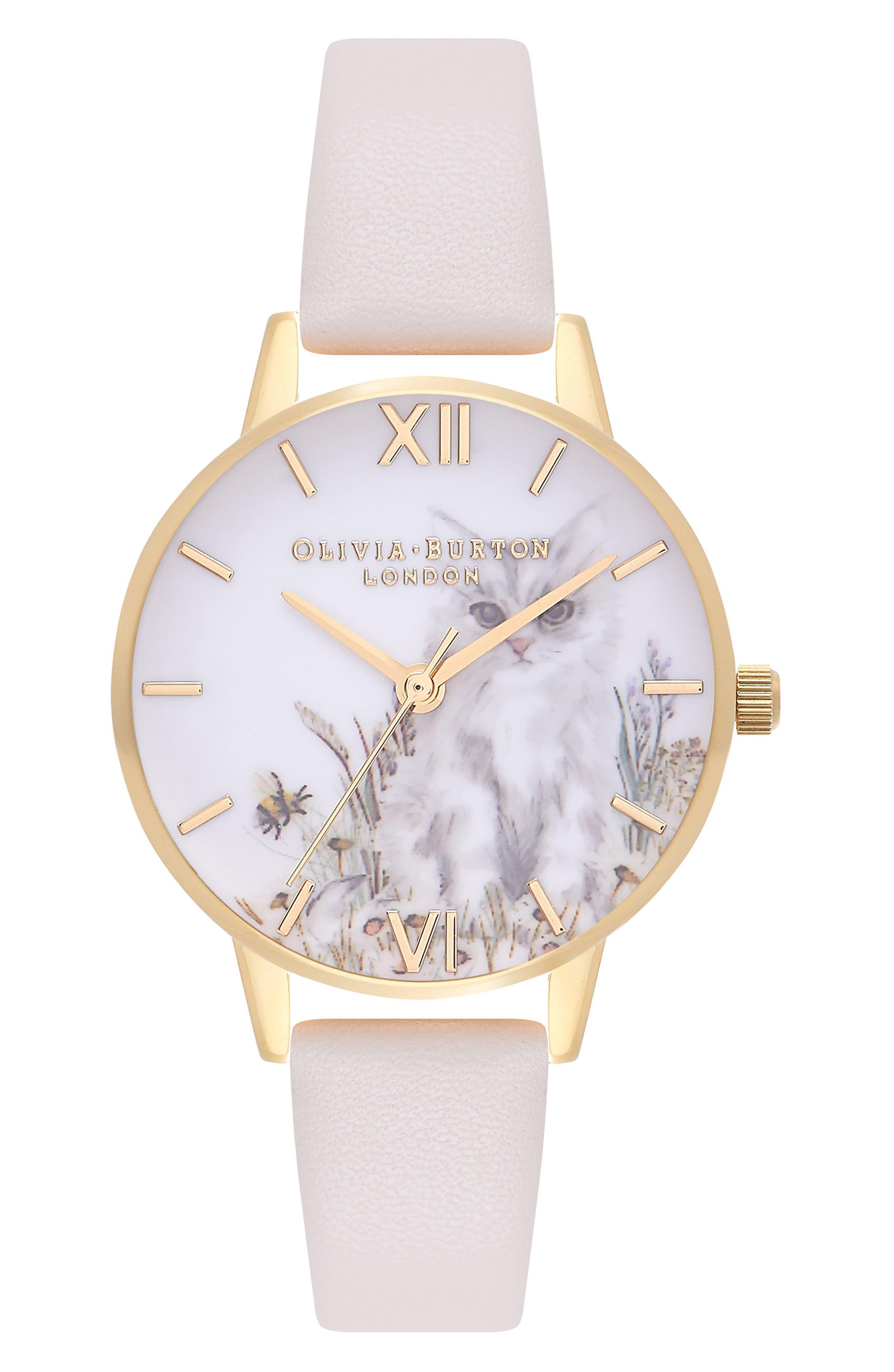 Olivia Burton Cat Print Faux Leather Strap Watch, 30mm