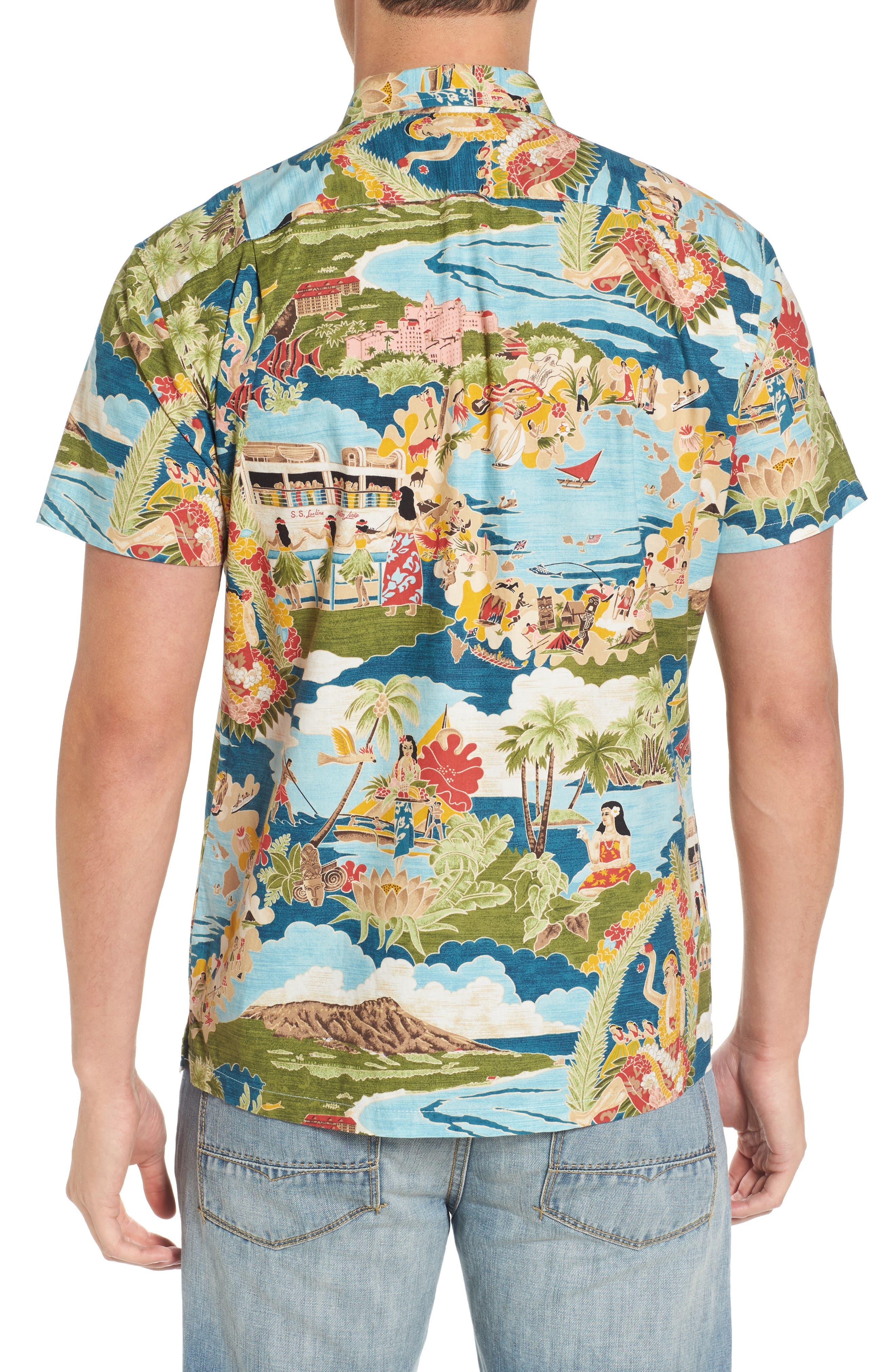Boat Day Aloha Sport Shirt,                             Alternate thumbnail 2, color,                             Lagoon