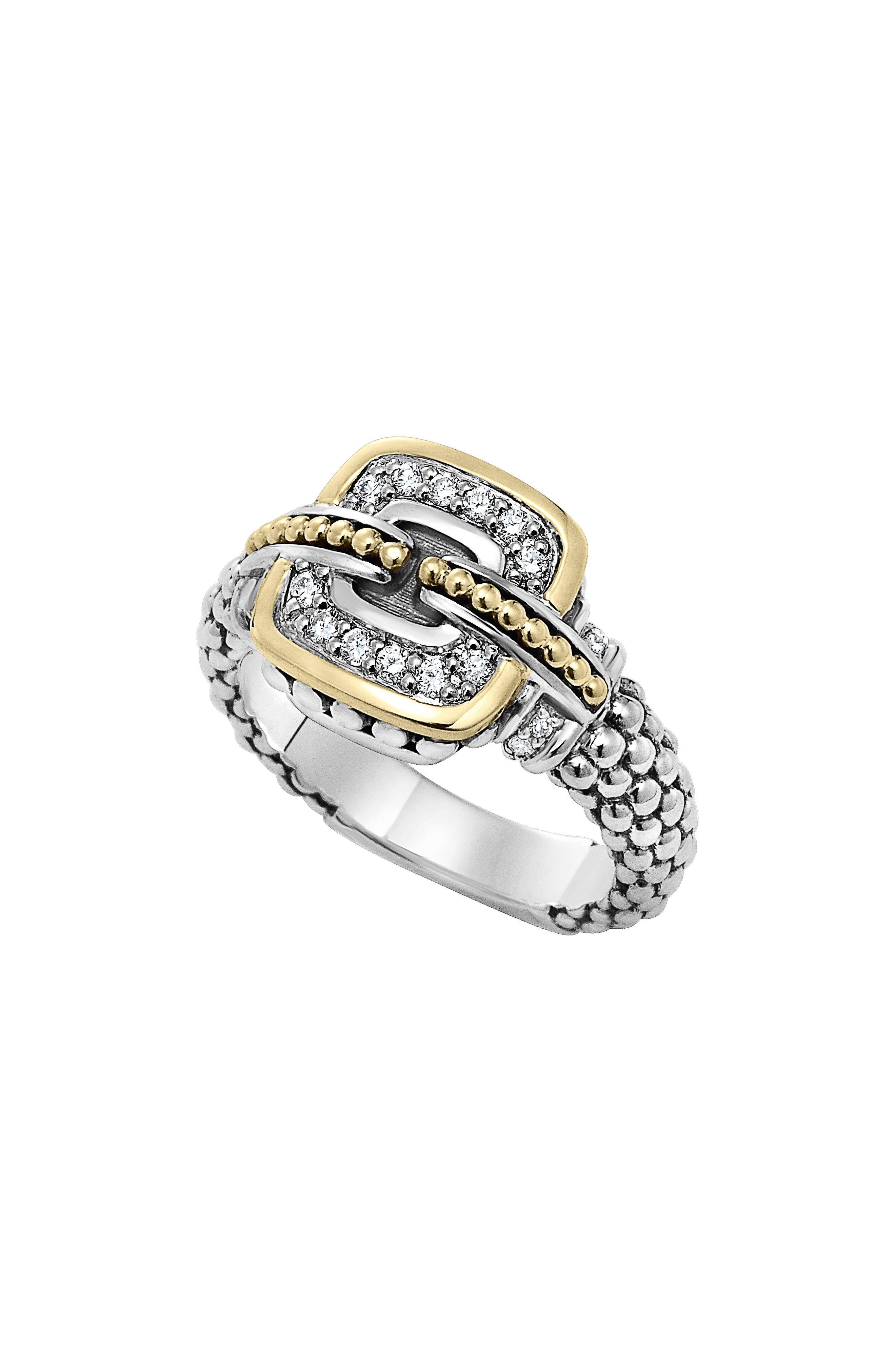 'Cushion' Small Diamond Ring,                         Main,                         color, Silver/ Gold