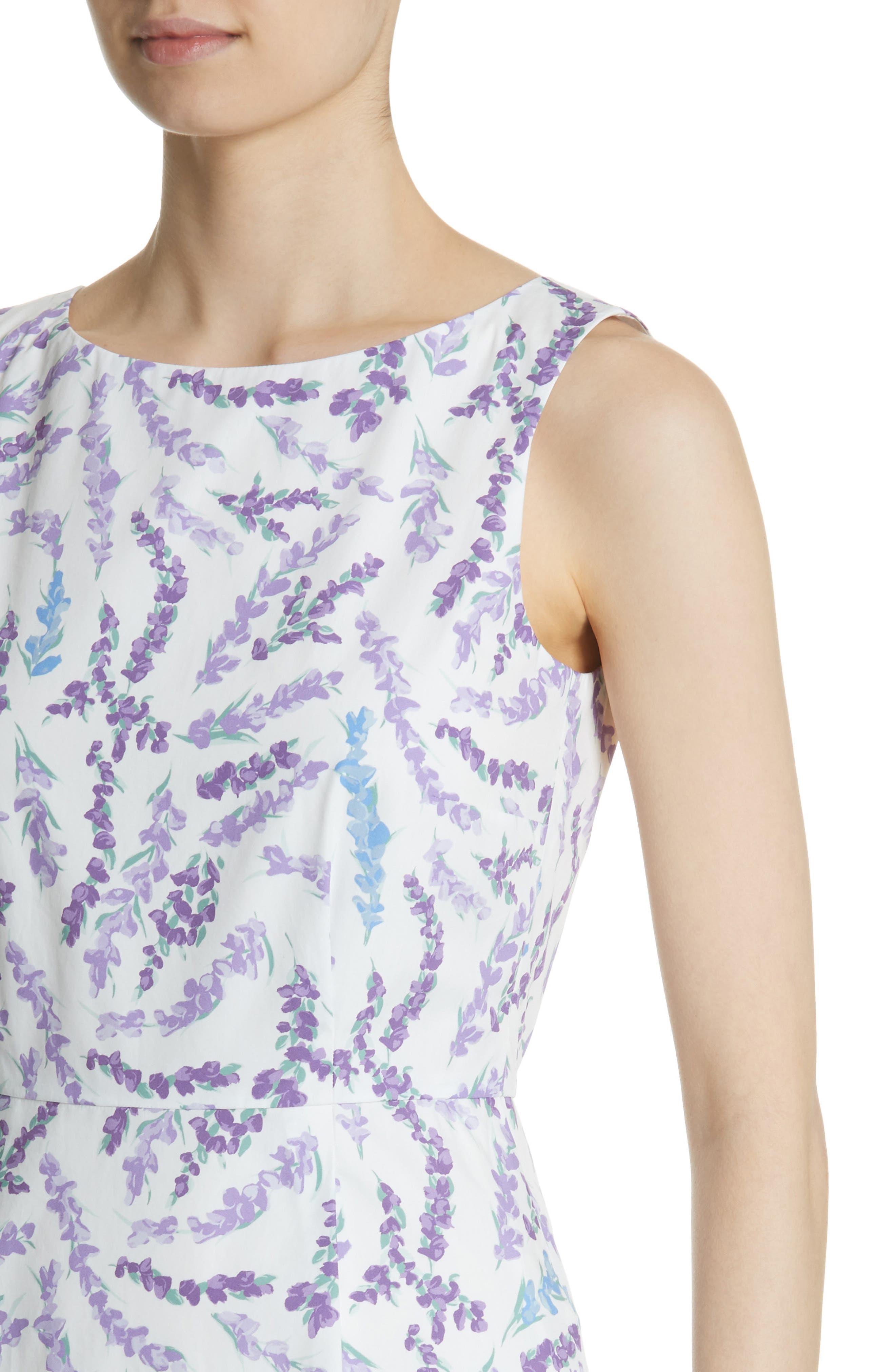 Melfi Print Cotton Sheath Dress,                             Alternate thumbnail 4, color,                             Lavender