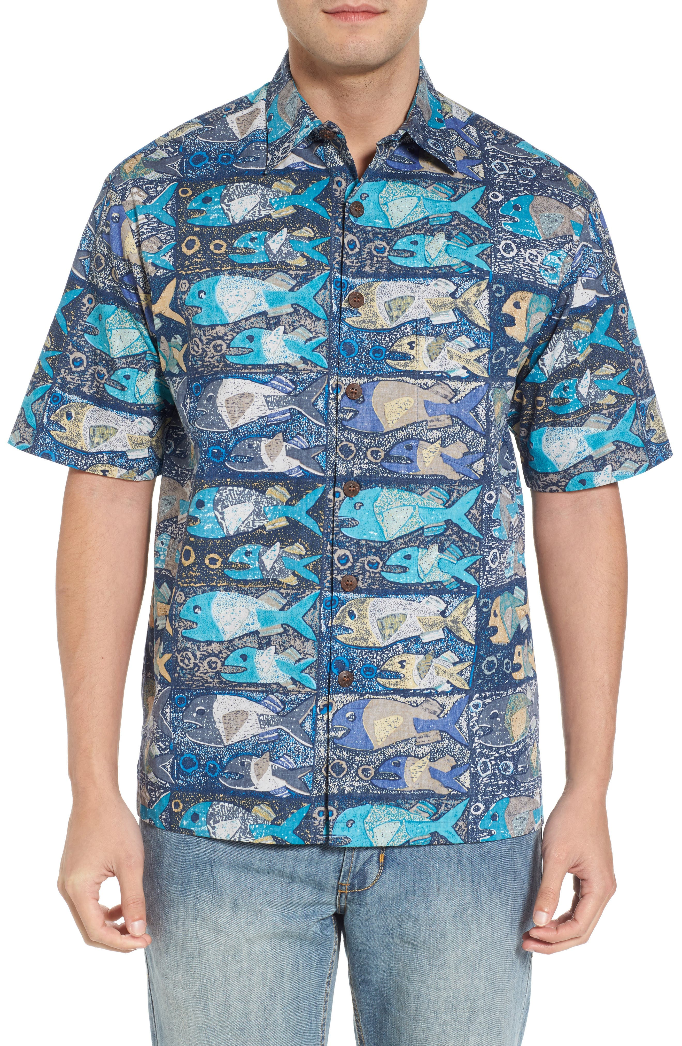 Stone Fish Print Sport Shirt,                         Main,                         color, Navy