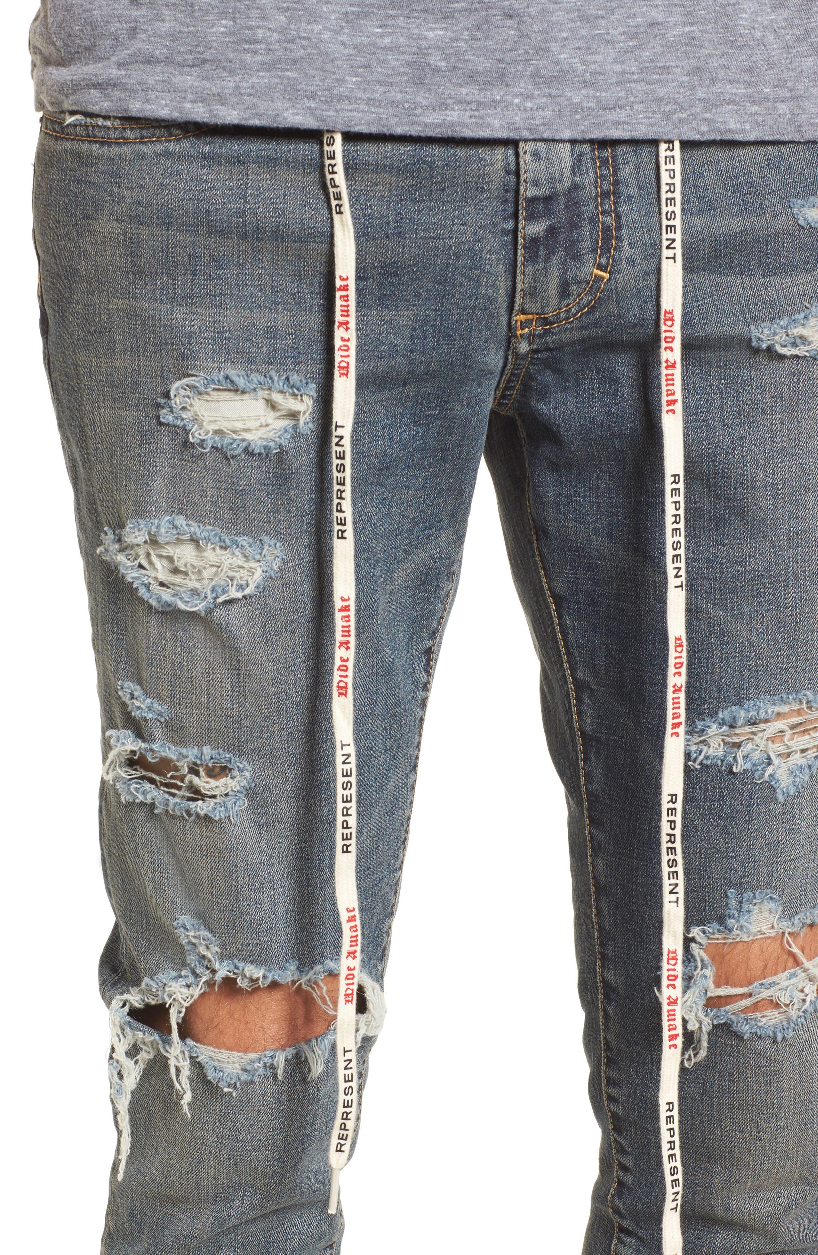 Repairer Slim Fit Denim Pants,                             Alternate thumbnail 4, color,                             Rockstar Blue