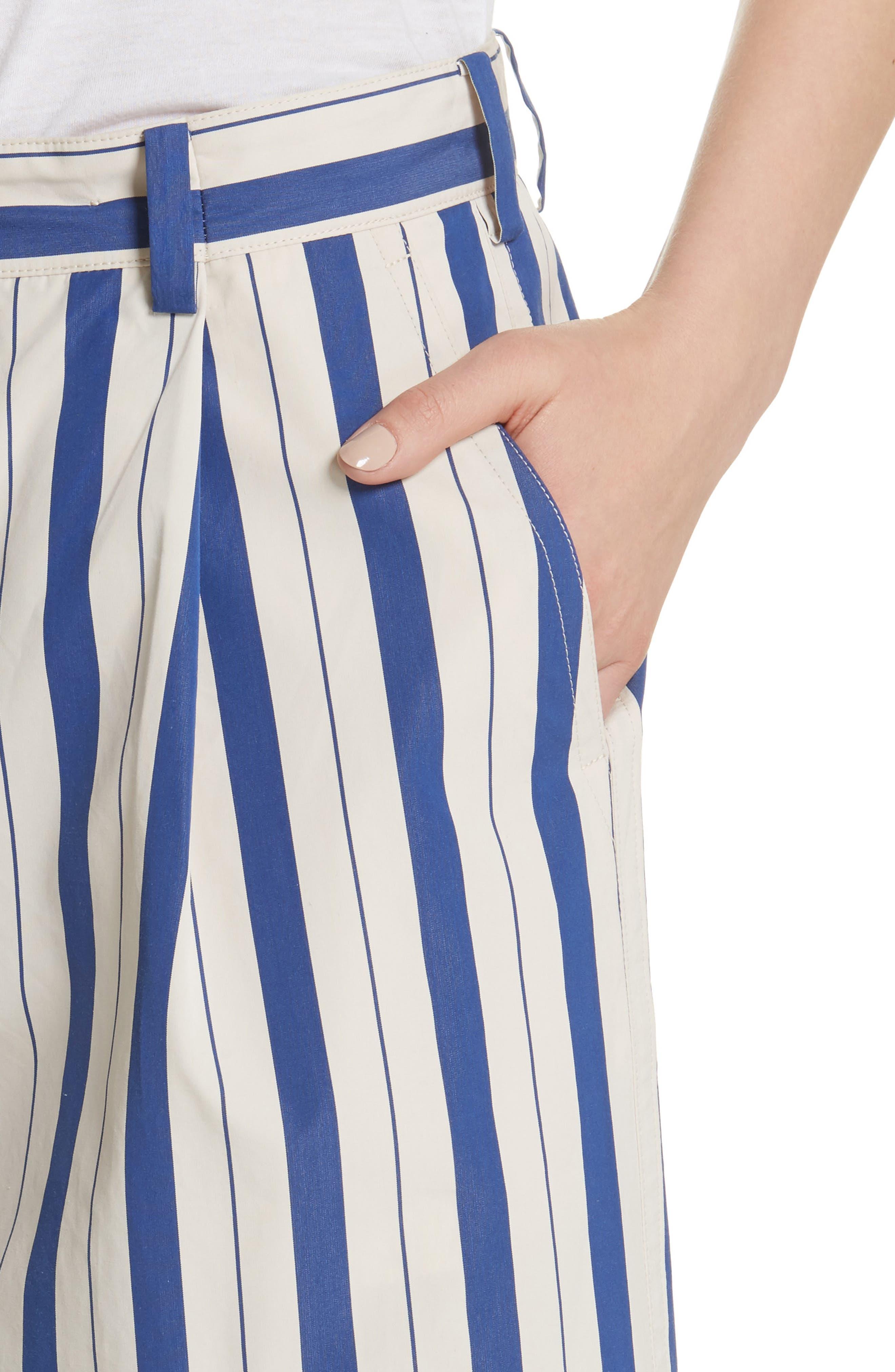 Stripe Wide Leg Pants,                             Alternate thumbnail 4, color,                             Blue Lagoon