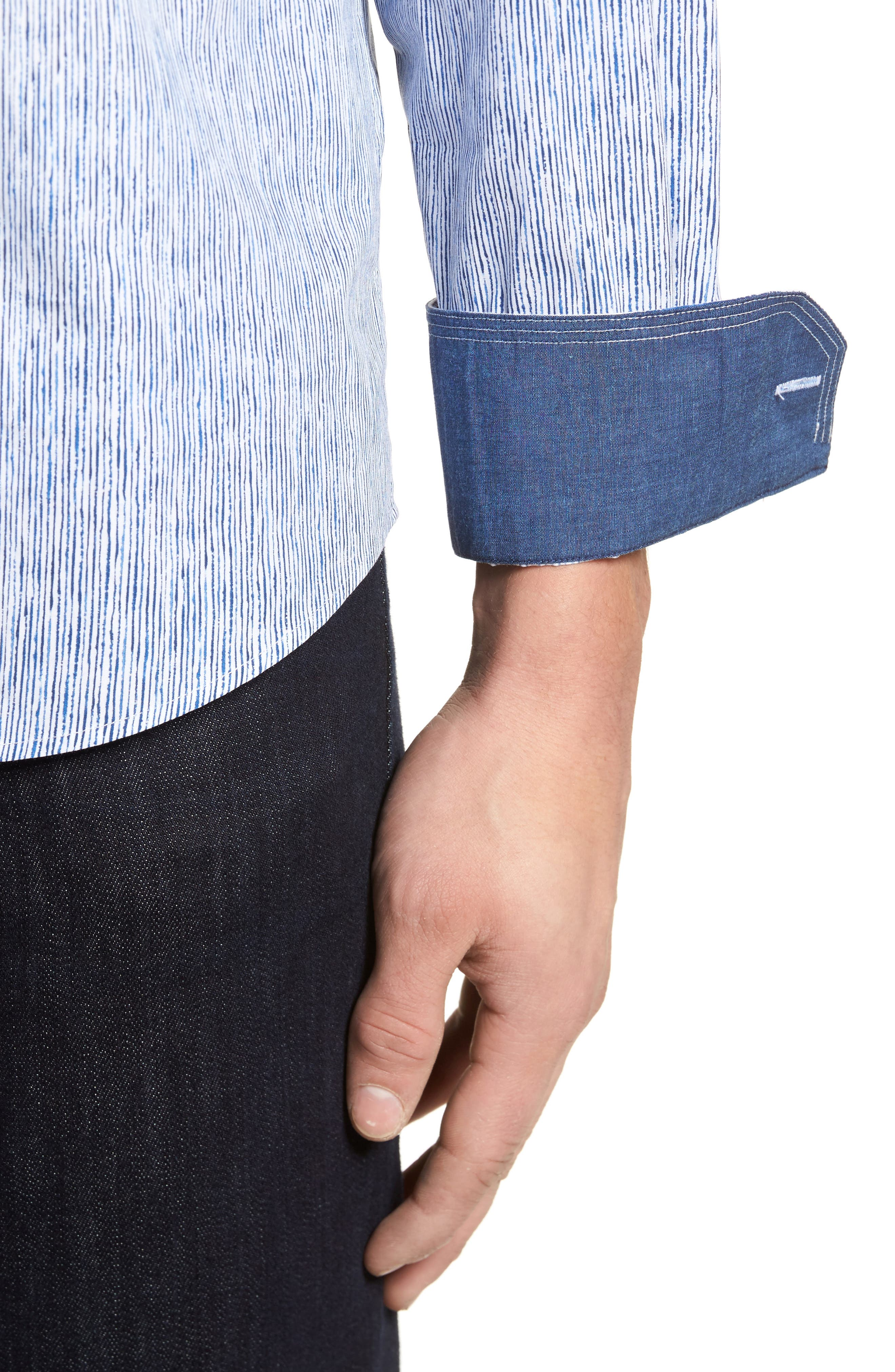 Freehand Pin Lines Classic Fit Sport Shirt,                             Alternate thumbnail 4, color,                             Classic Blue