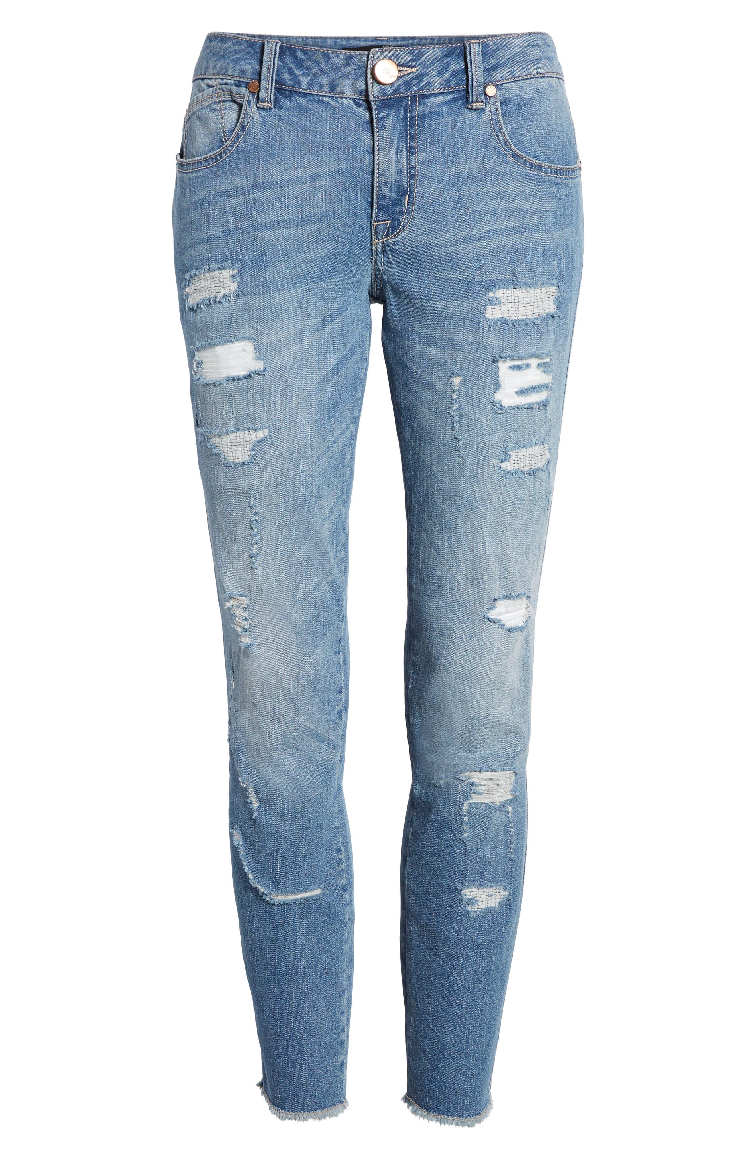 Rip & Repair Ankle Skinny Jeans,                             Alternate thumbnail 7, color,                             Pearl Jam