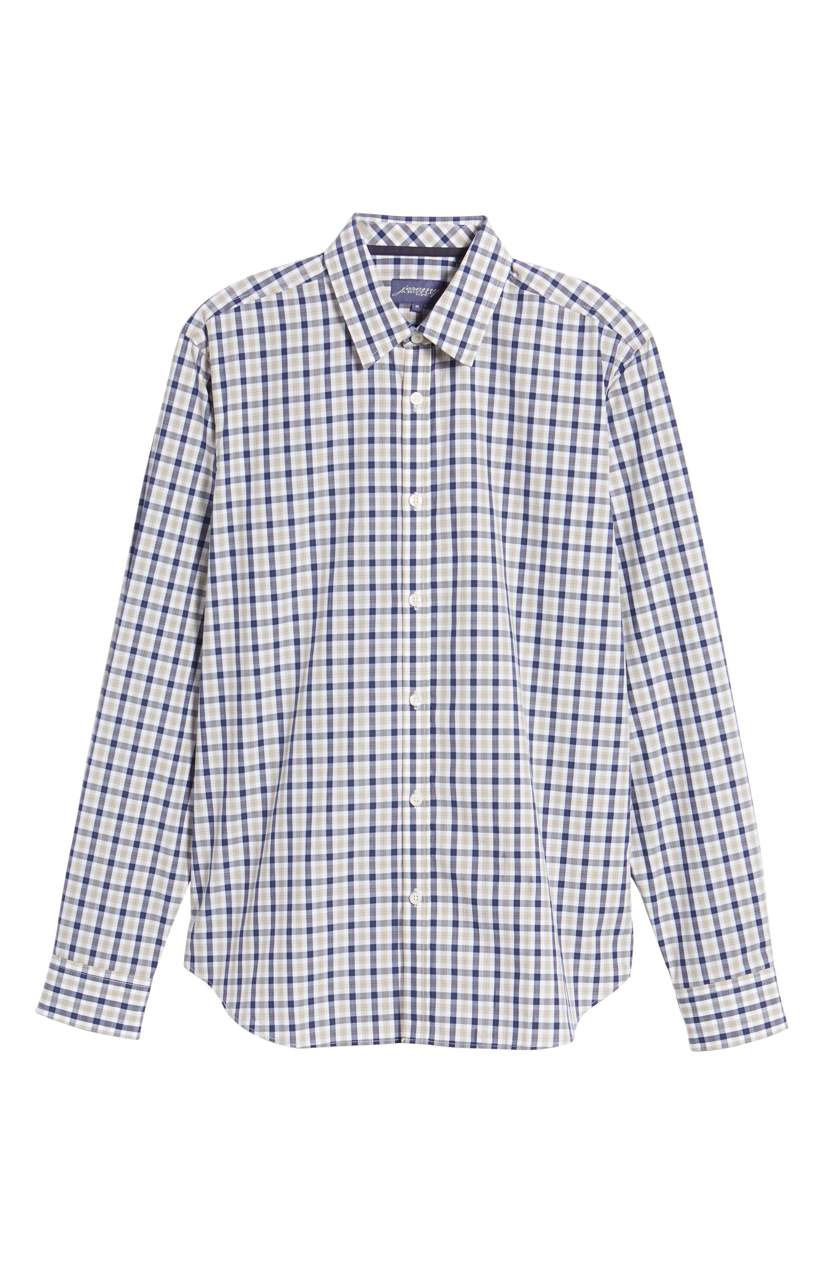 Fitted Plaid Sport Shirt,                             Alternate thumbnail 6, color,                             Dark Blue