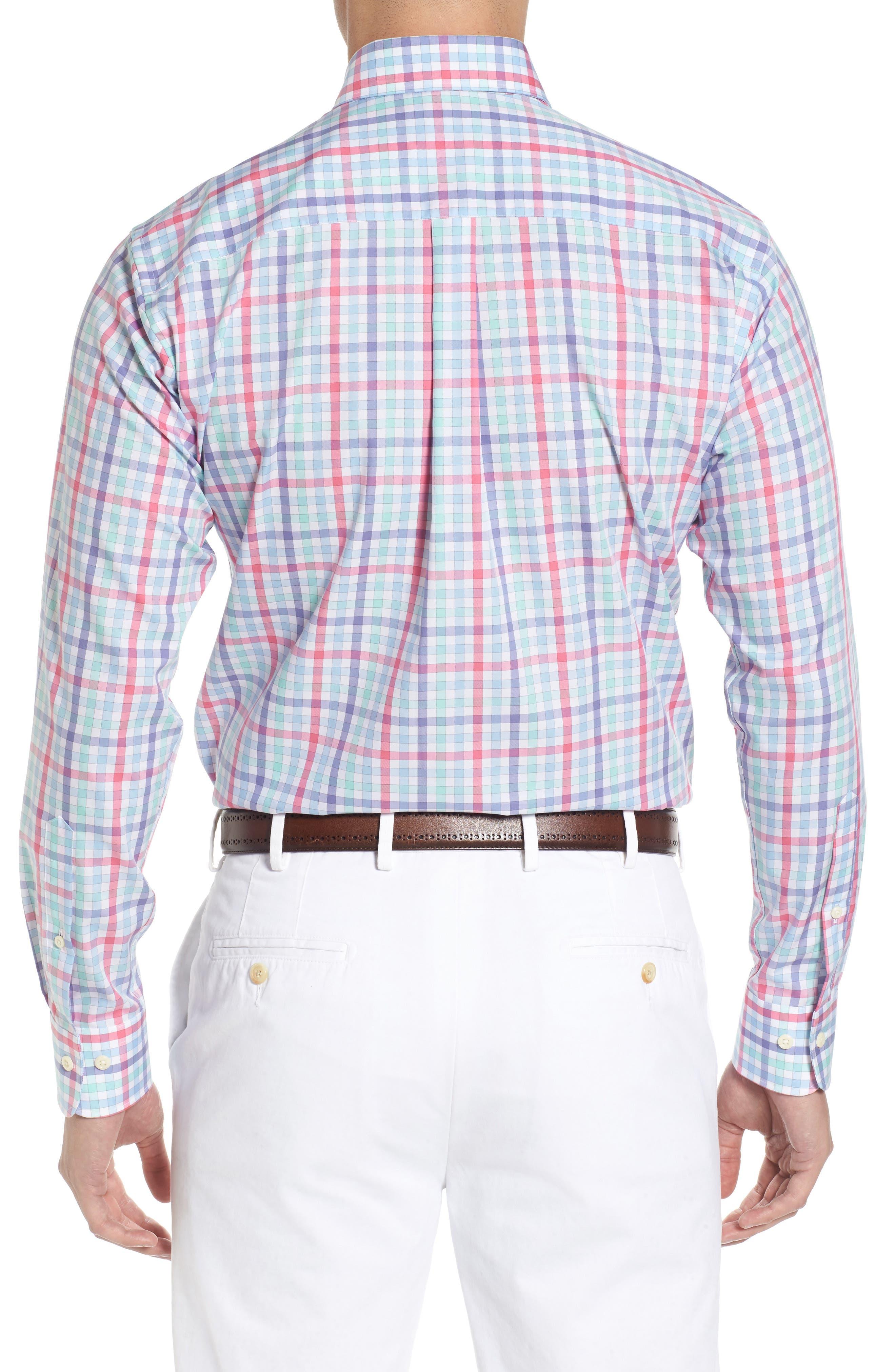 Crown Ease Habanero Regular Fit Check Sport Shirt,                             Alternate thumbnail 3, color,                             Tar Heel Blue