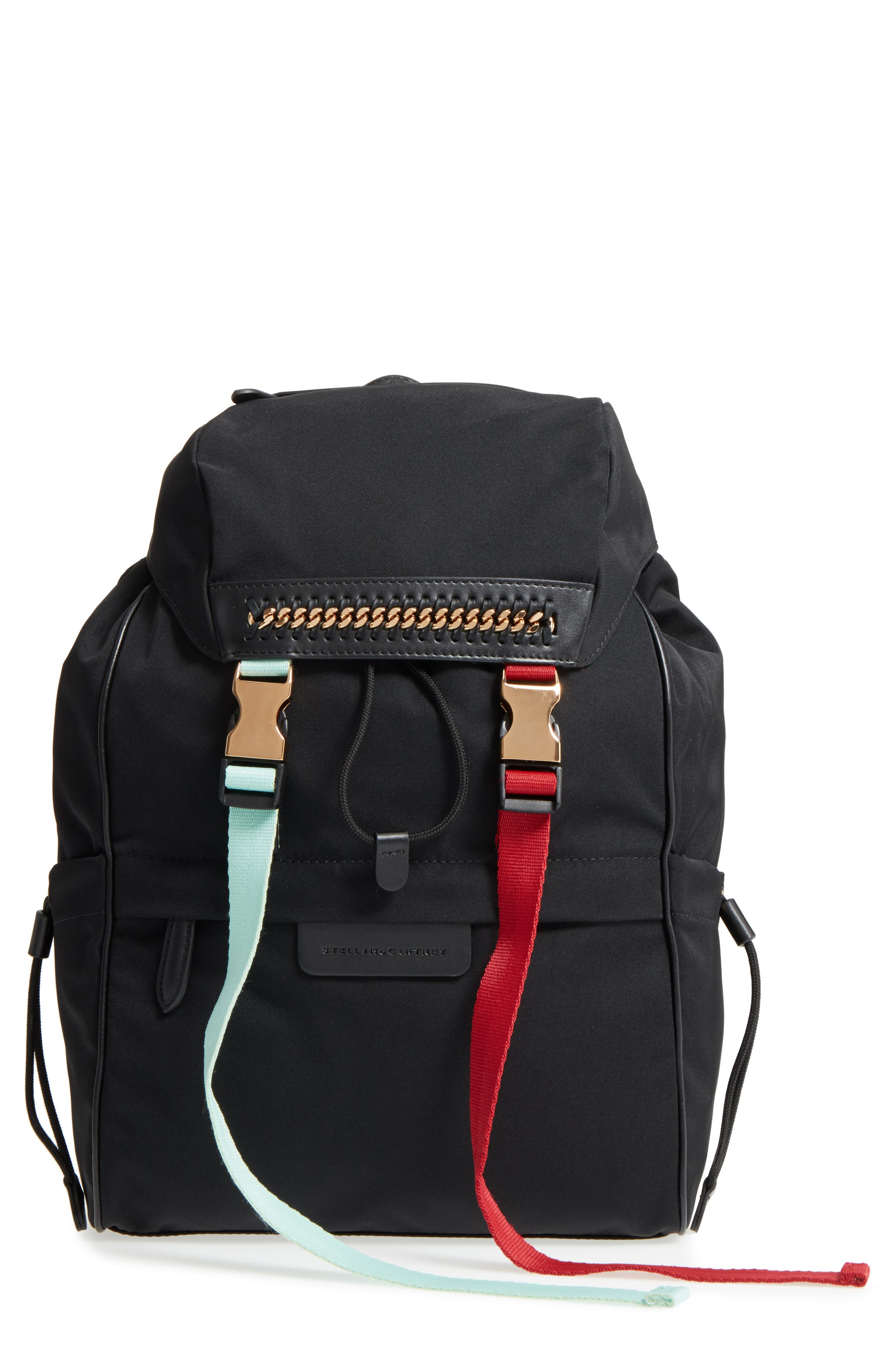 Small Eco Nylon Backpack,                             Main thumbnail 1, color,                             Black Multi