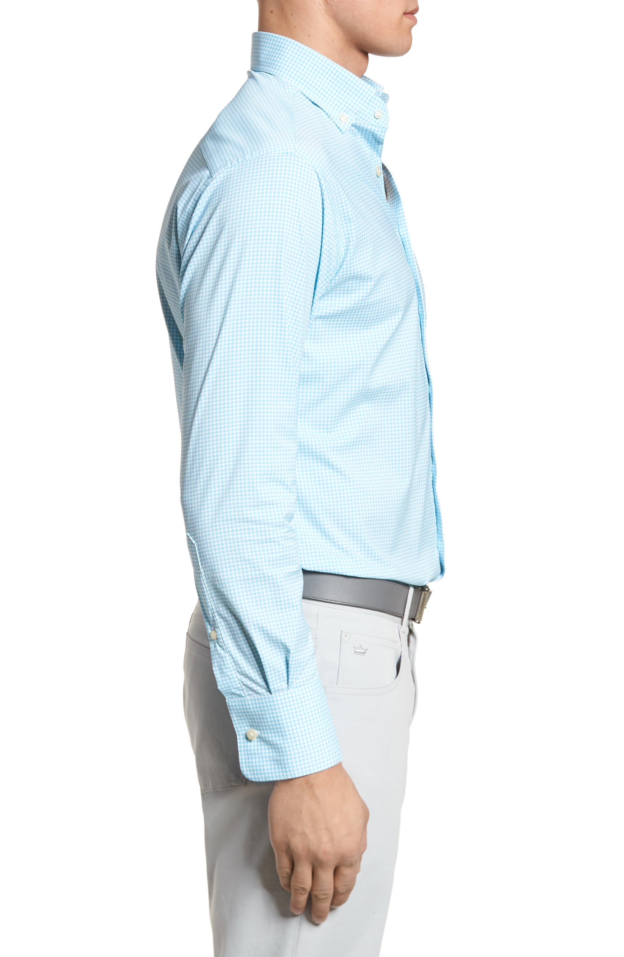 Mimi Regular Fit Check Performance Sport Shirt,                             Alternate thumbnail 3, color,                             Grotto Blue/ White
