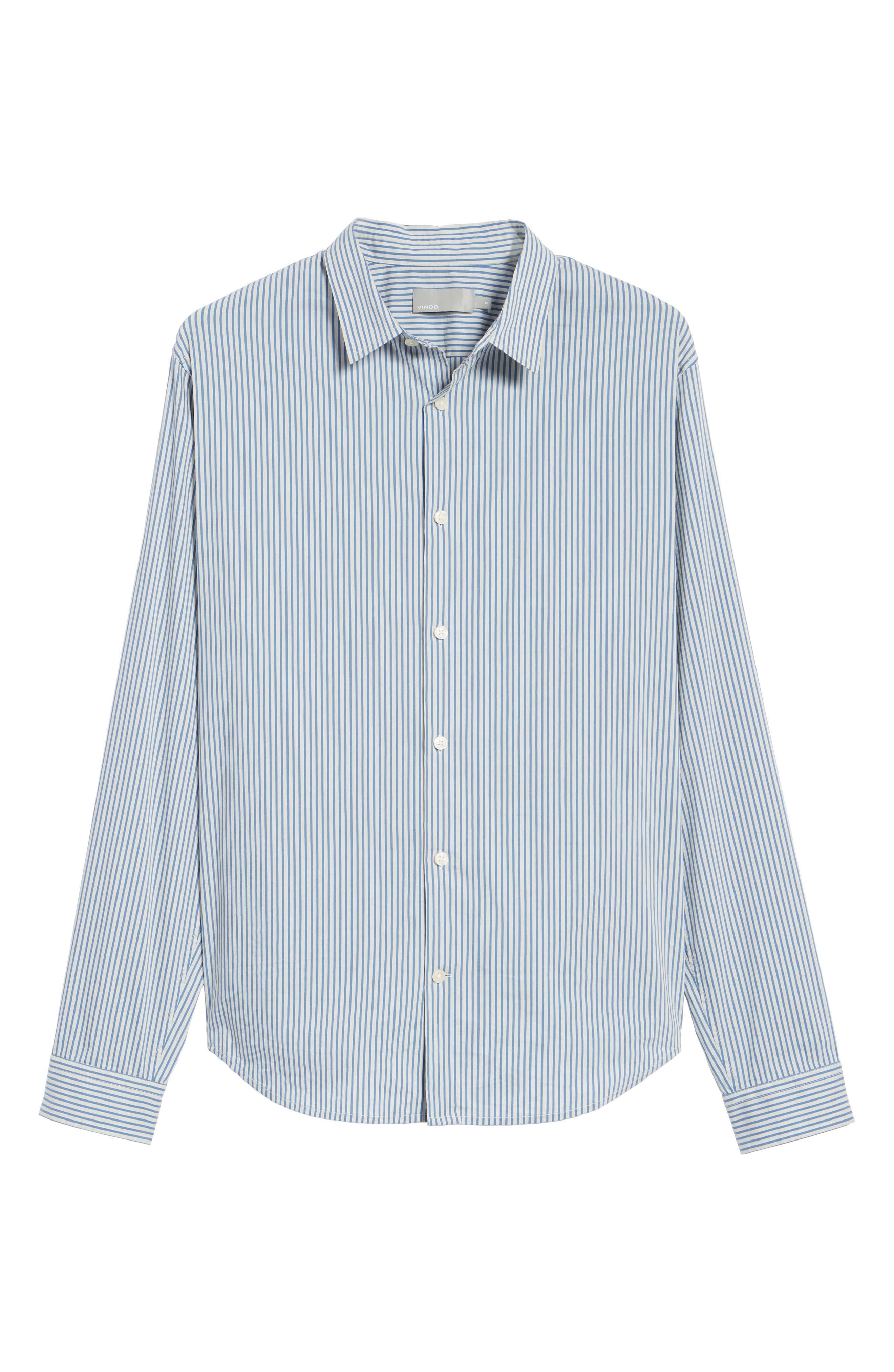 Regular Fit Stripe Sport Shirt,                             Alternate thumbnail 6, color,                             White/ Ocean Blue