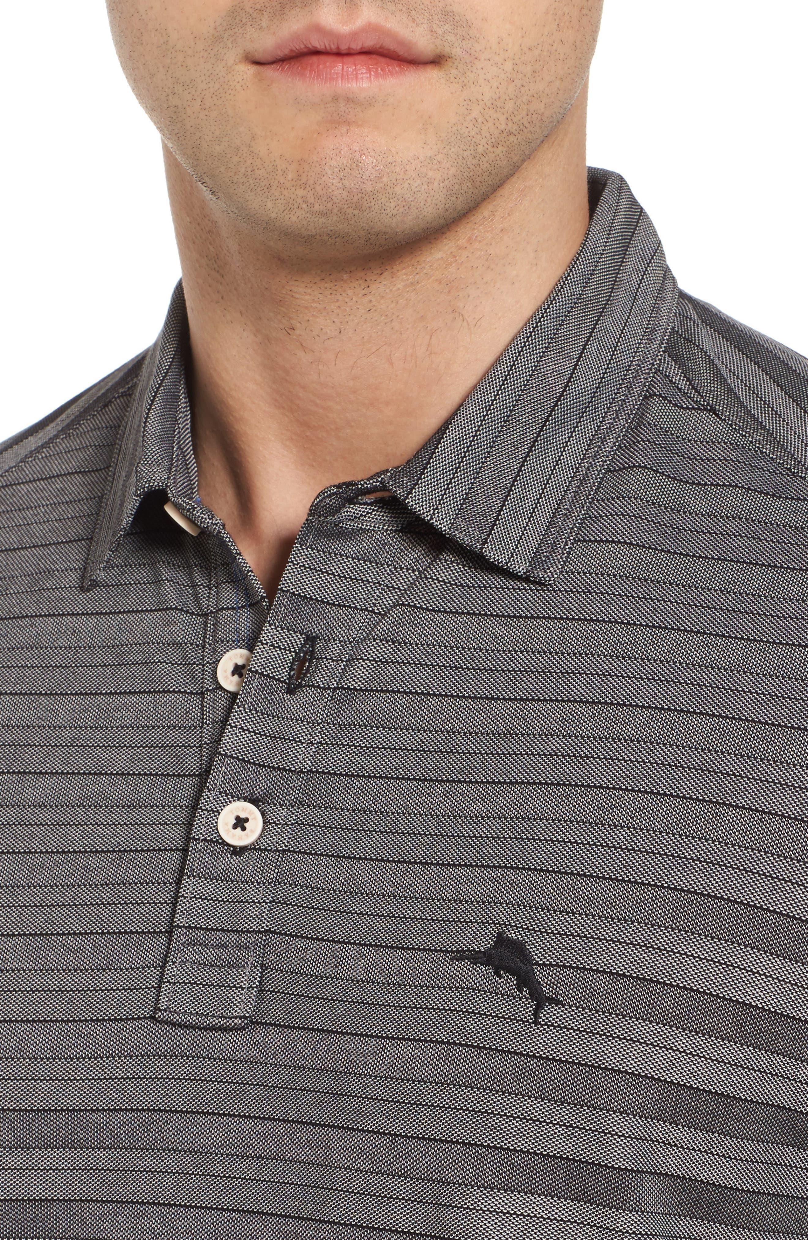 Tropicool Tides Stripe Polo,                             Alternate thumbnail 4, color,                             Black