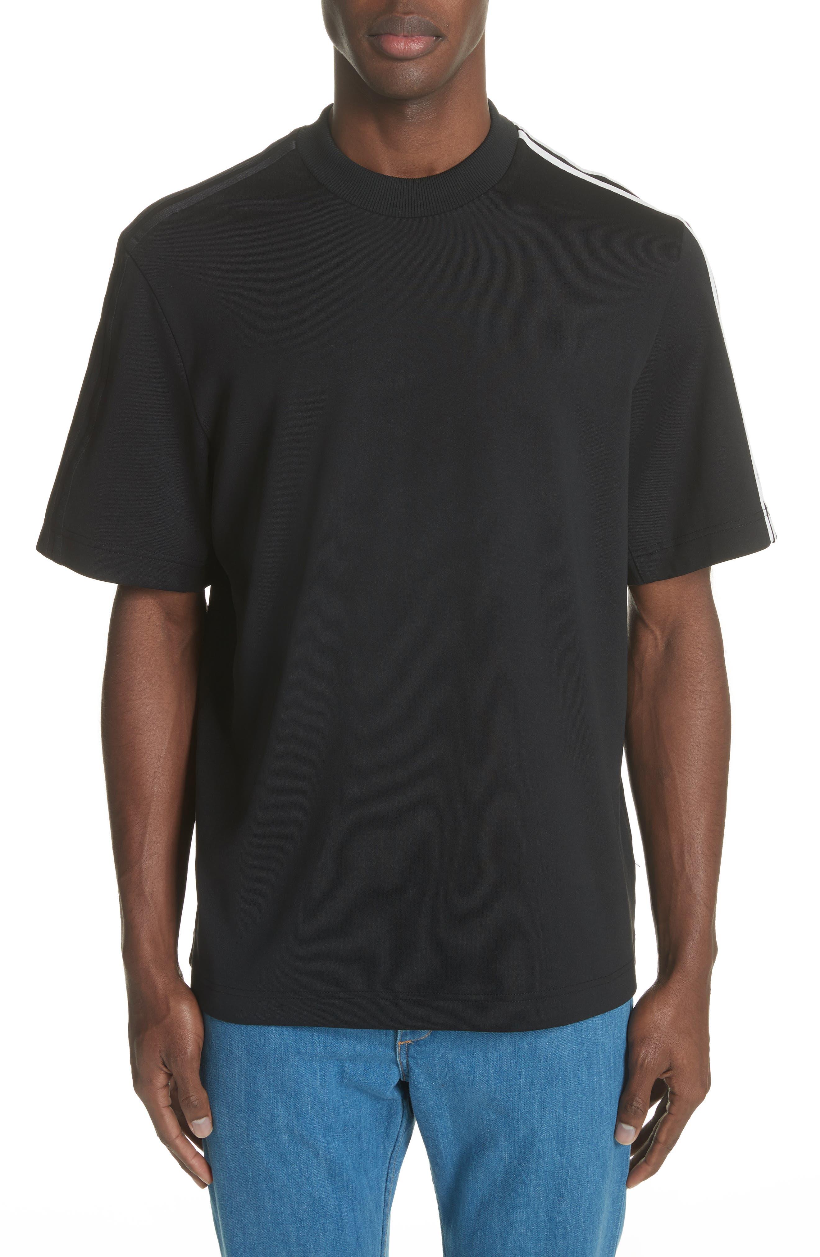 White Stripe Crewneck T-Shirt,                         Main,                         color, Black