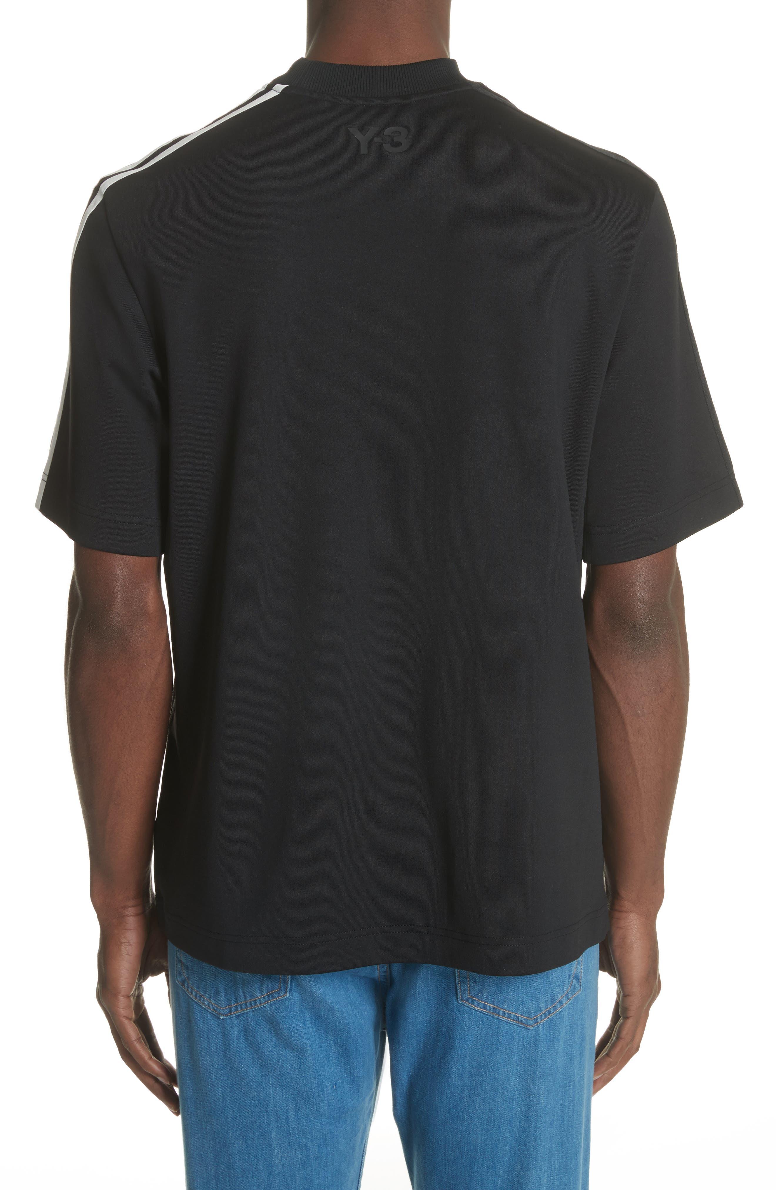 White Stripe Crewneck T-Shirt,                             Alternate thumbnail 2, color,                             Black