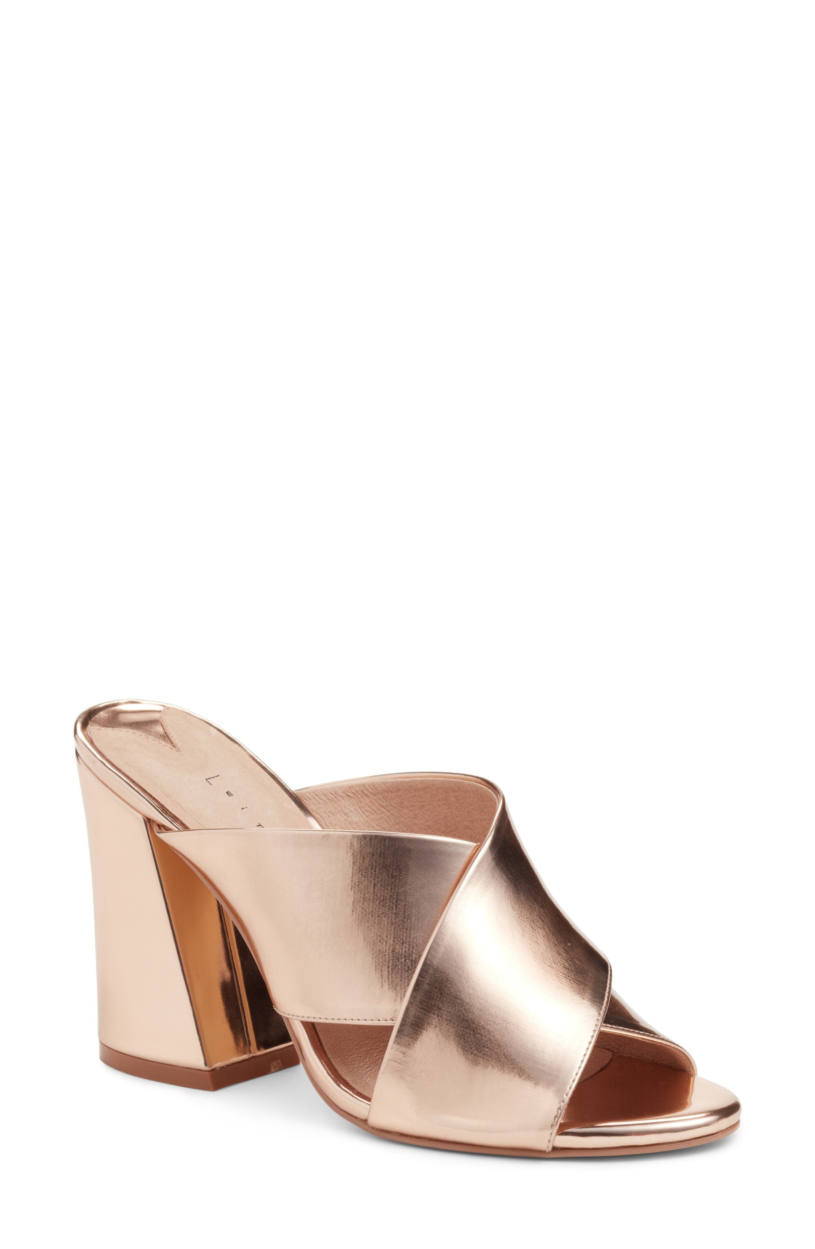 Cammie Block Heel Sandal,                             Main thumbnail 1, color,                             Rosegold Metallic Faux Leather