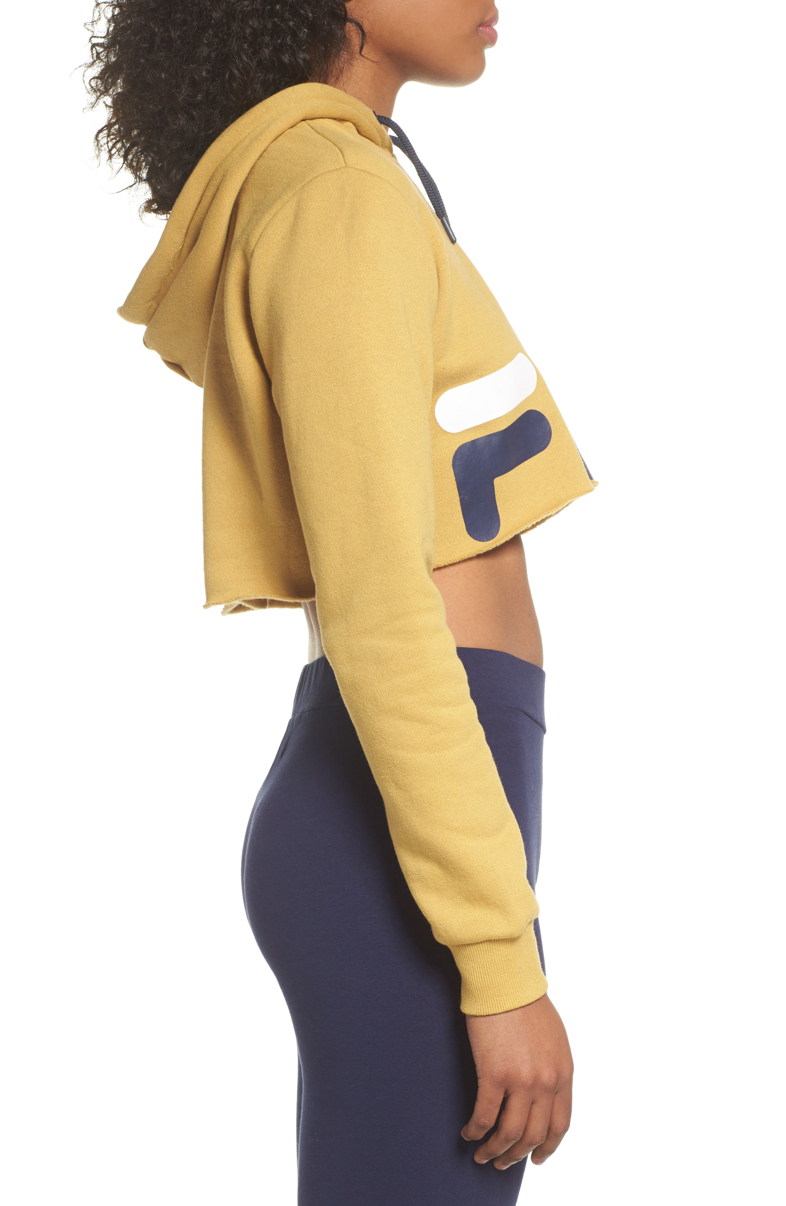 Pam Crop Hoodie,                             Alternate thumbnail 3, color,                             Mustard Gold/ Navy/ White