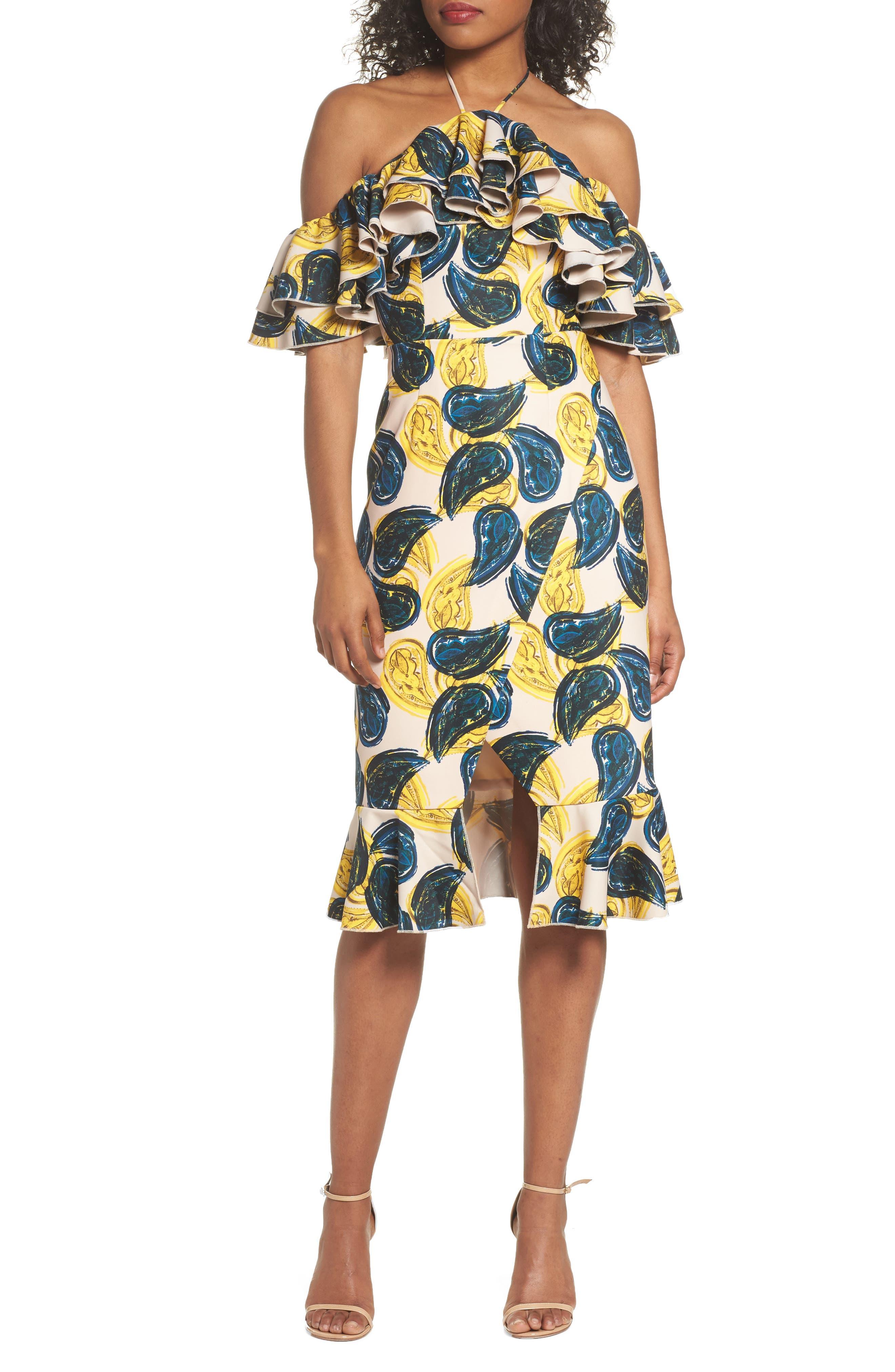 Temptation Halter Sheath Dress,                         Main,                         color, Blush Paisley