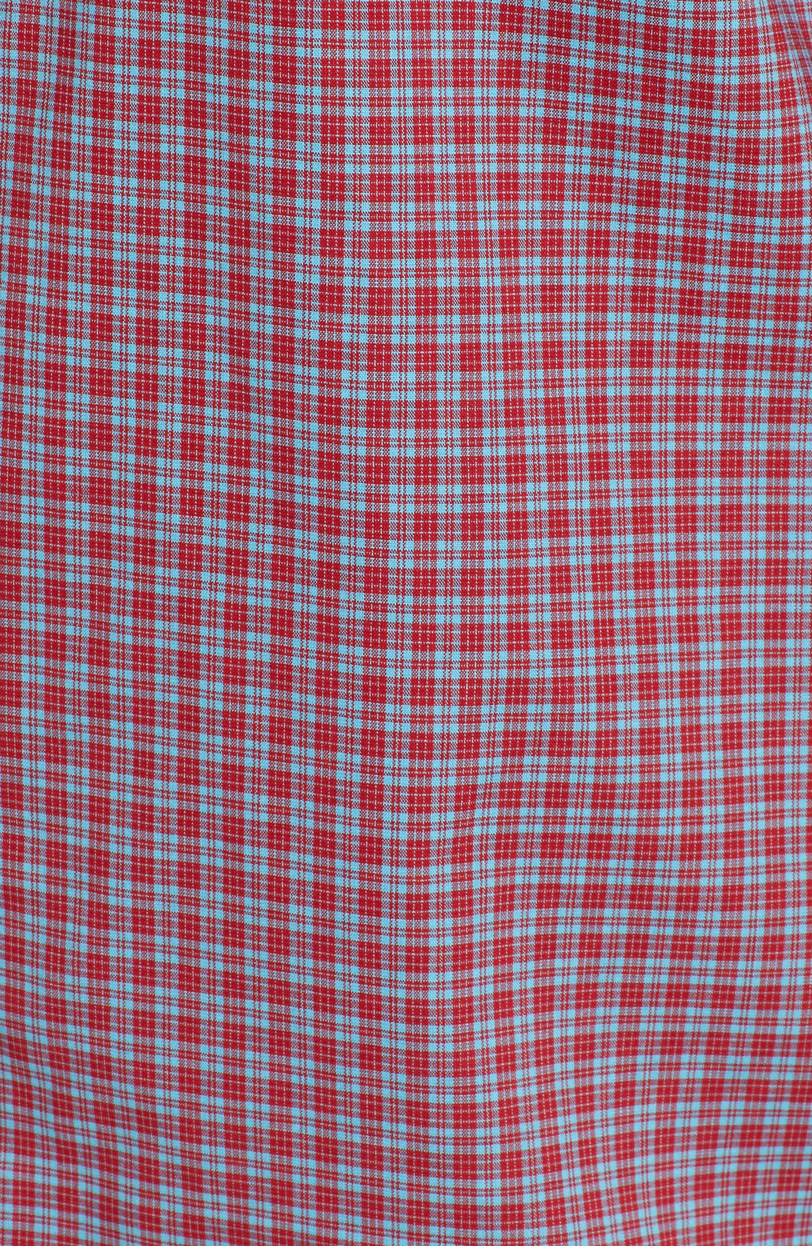 Tech-Smart Trim Fit Check Sport Shirt,                             Alternate thumbnail 5, color,                             Red Pompeii Blue Micro Check