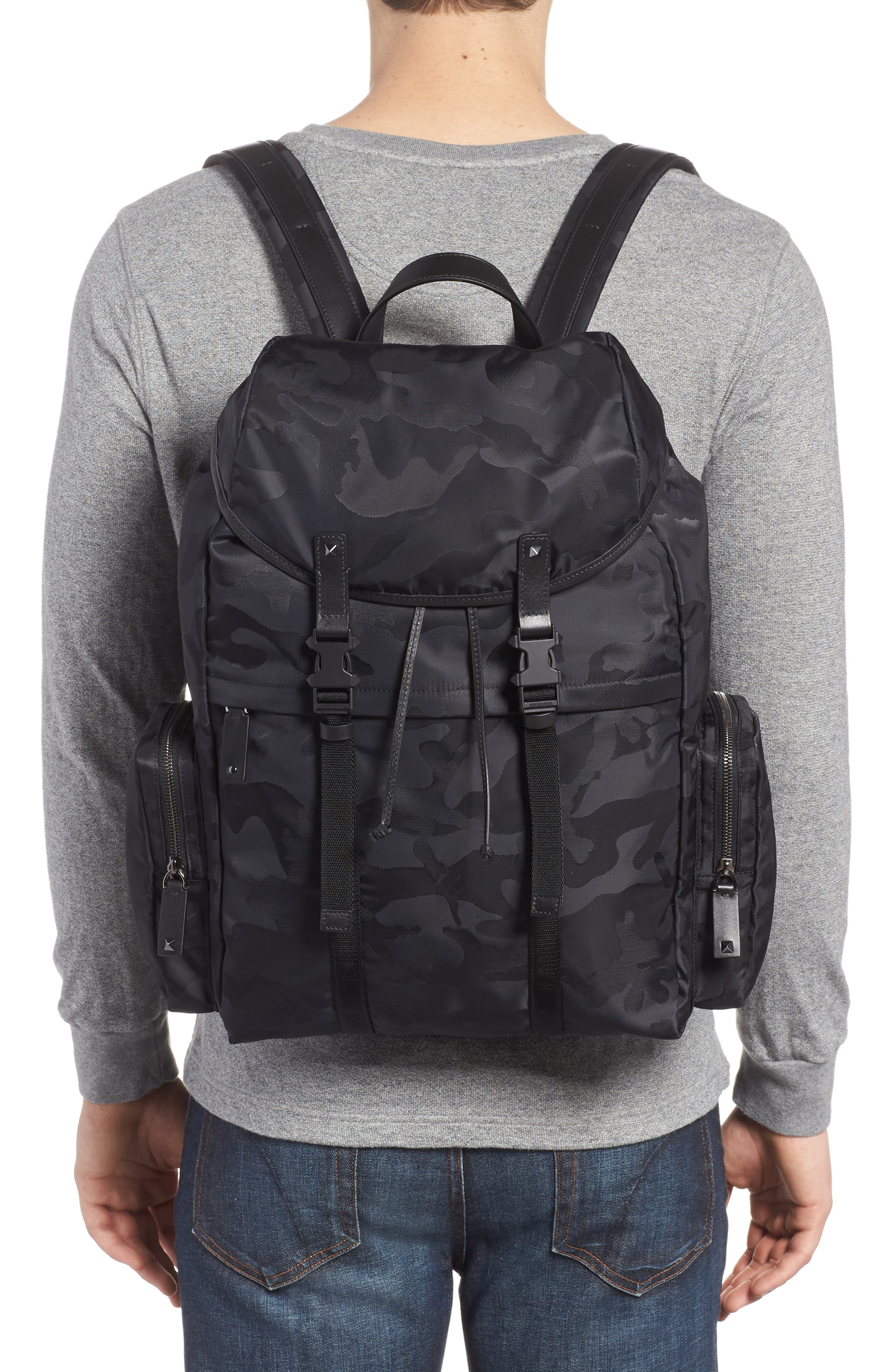 Camo Backpack,                             Alternate thumbnail 2, color,                             Black