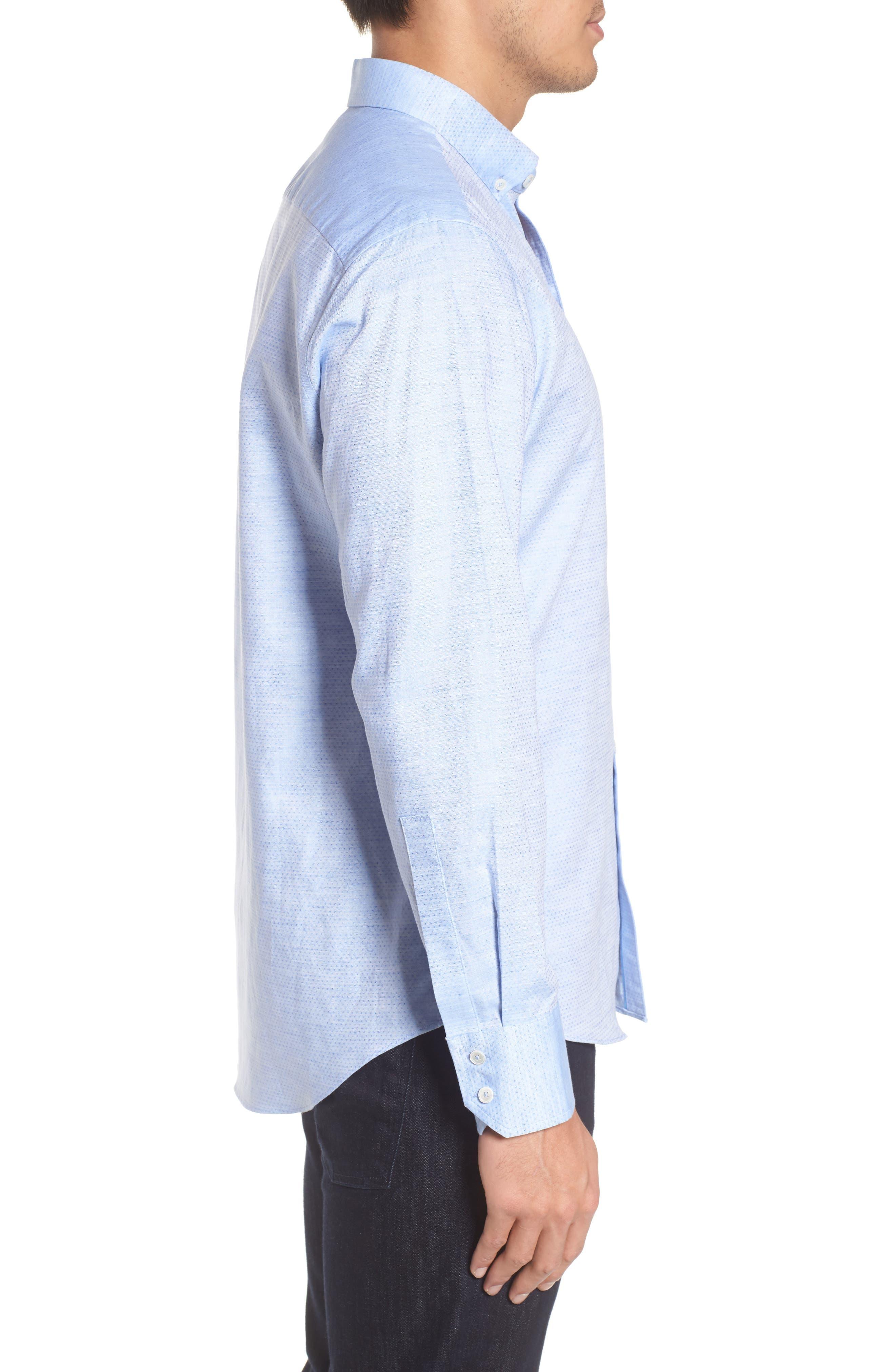 Gomis Regular Fit Dobby Sport Shirt,                             Alternate thumbnail 3, color,                             Light Blue
