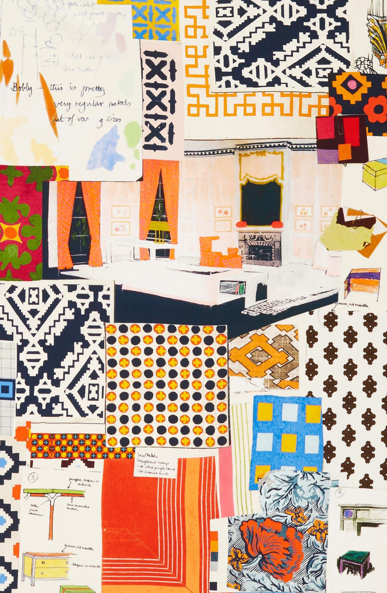 Scrapbook Fringed Silk Scarf,                             Alternate thumbnail 4, color,                             Multi