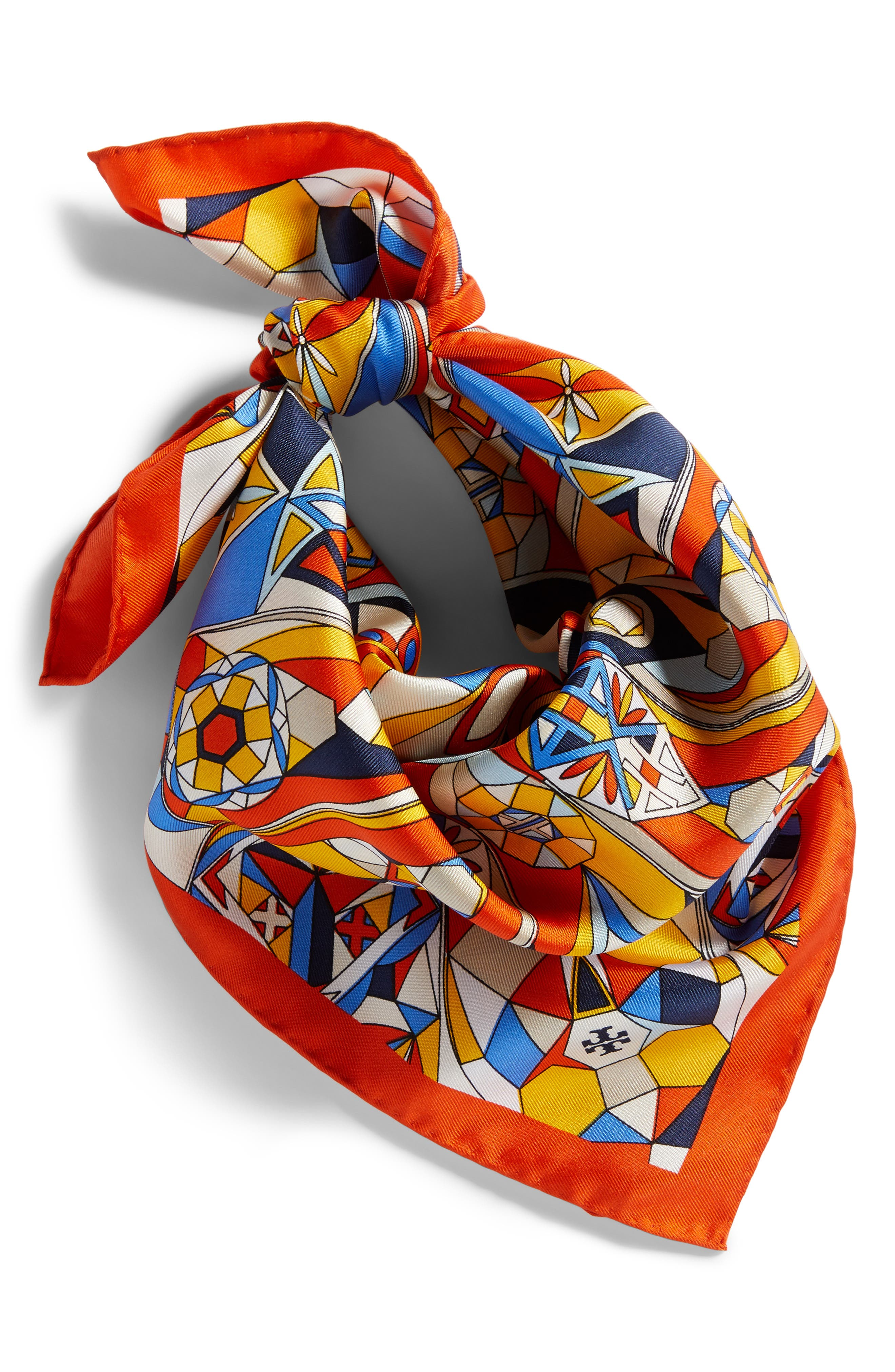 Psychedelic Geo Silk Neckerchief,                             Alternate thumbnail 2, color,                             Sweet Tangerine