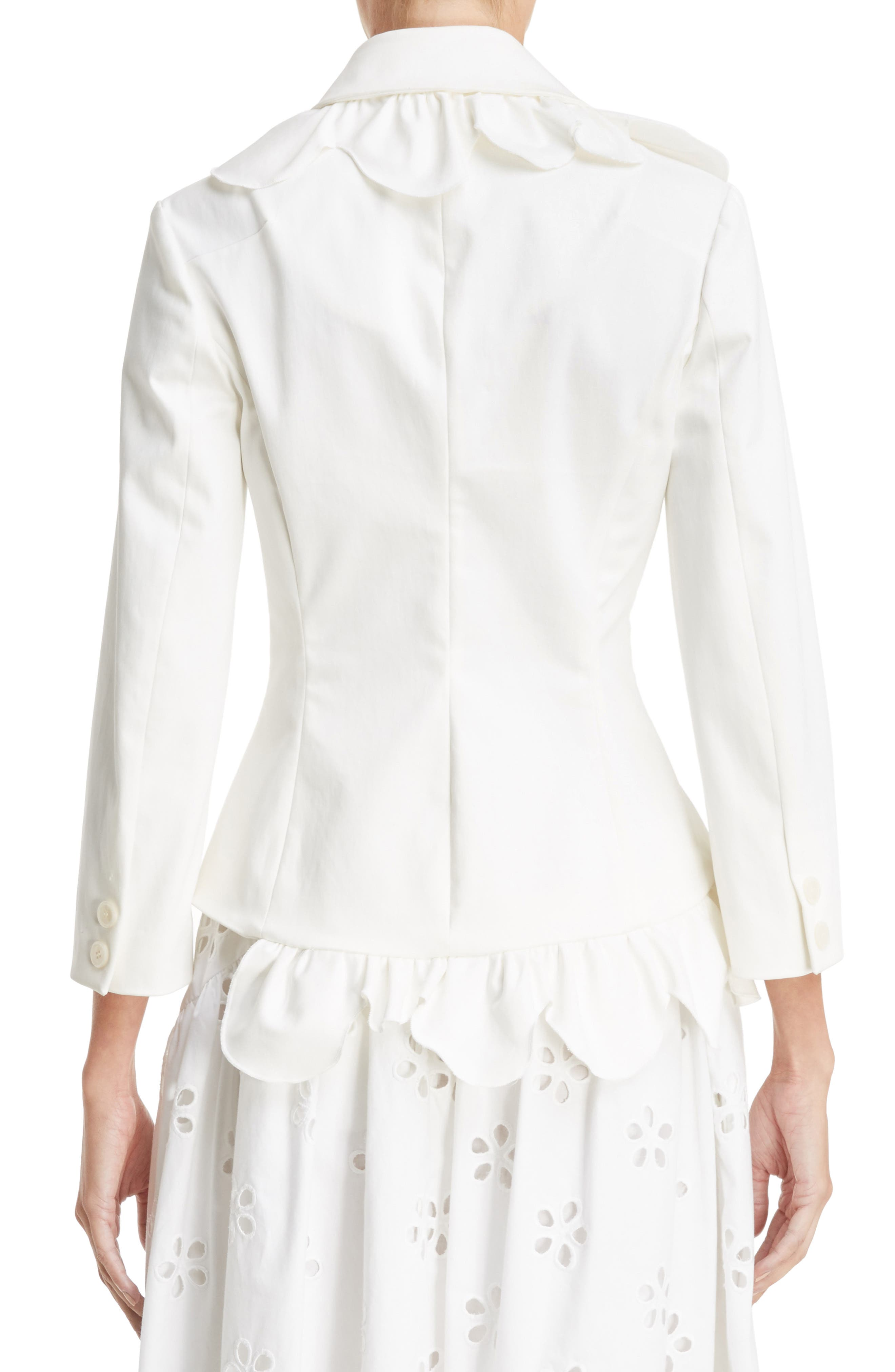 Scallop Frill Fitted Jacket,                             Alternate thumbnail 2, color,                             Ivory