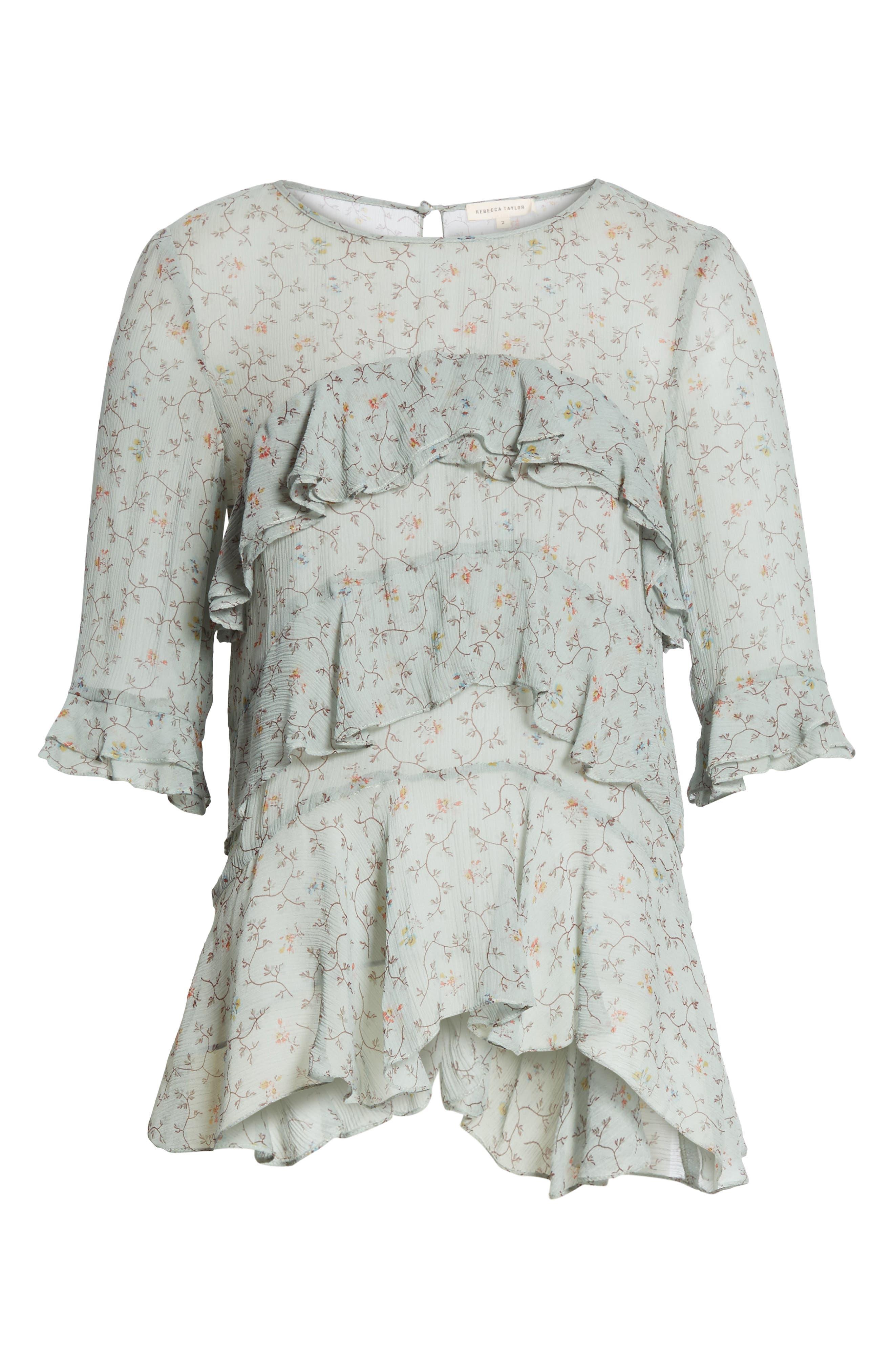 Alternate Image 6  - Rebecca Taylor Vine Ruffle Silk Top