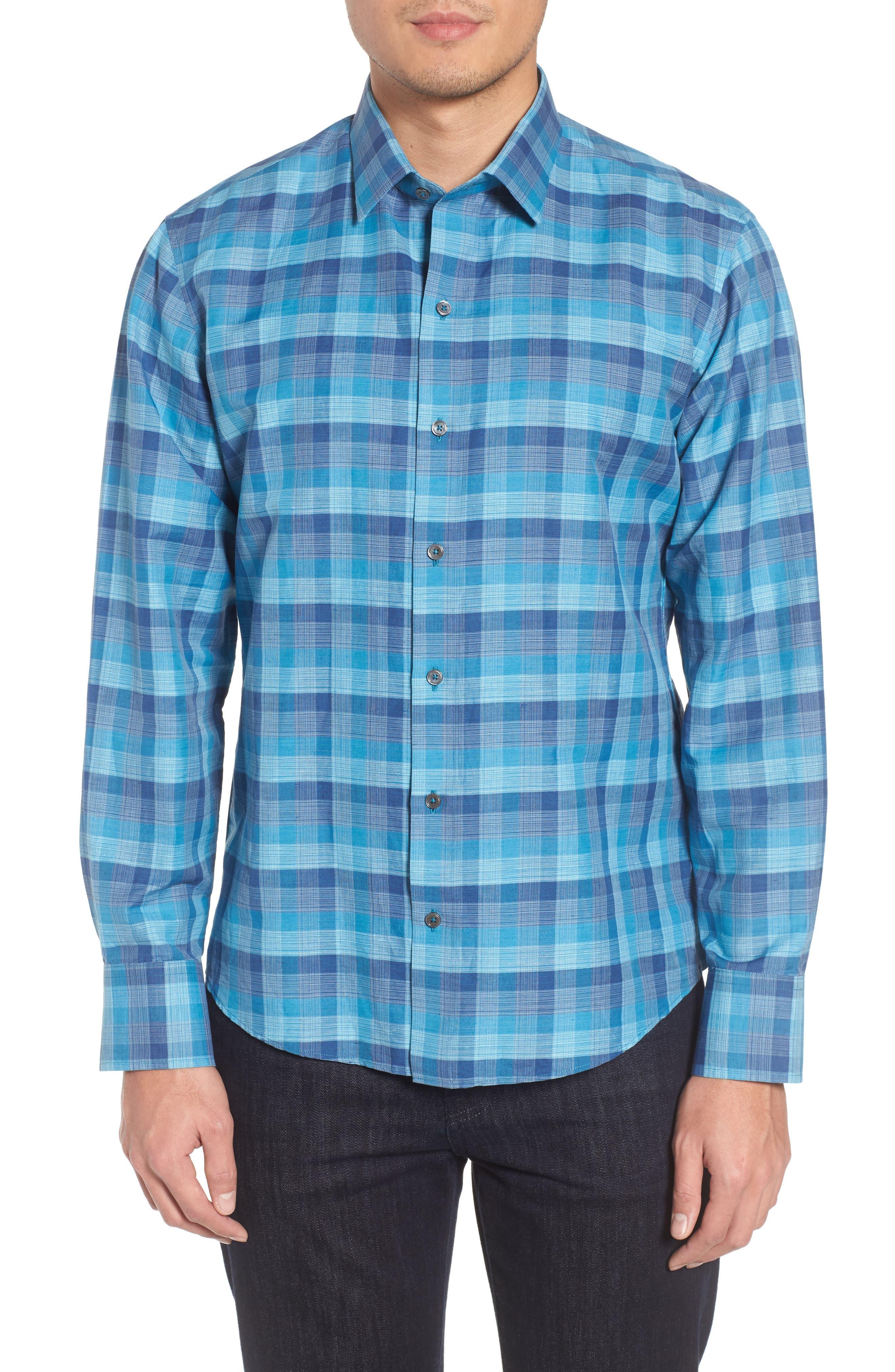Maverick Plaid Linen Blend Sport Shirt,                         Main,                         color, Teal