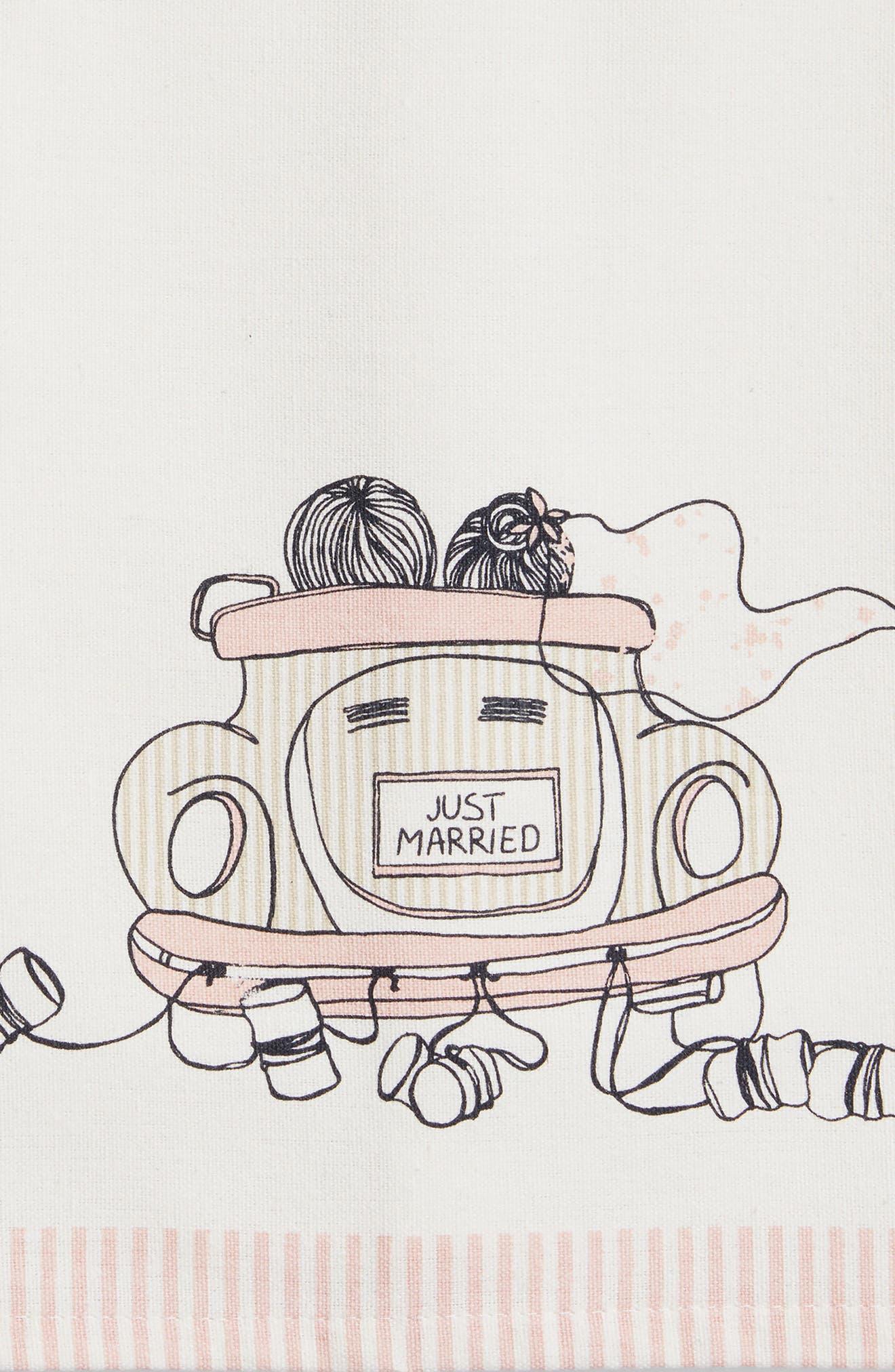 Wedding Car Set of 2 Dishtowels,                             Alternate thumbnail 2, color,                             Blush