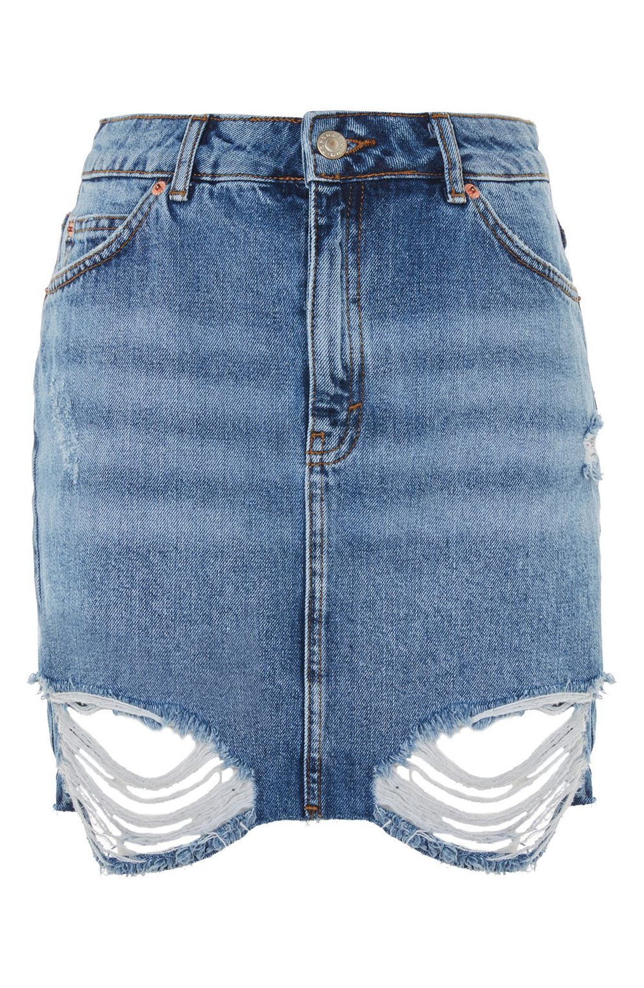 Alternate Image 3  - Topshop Ripped Denim Miniskirt