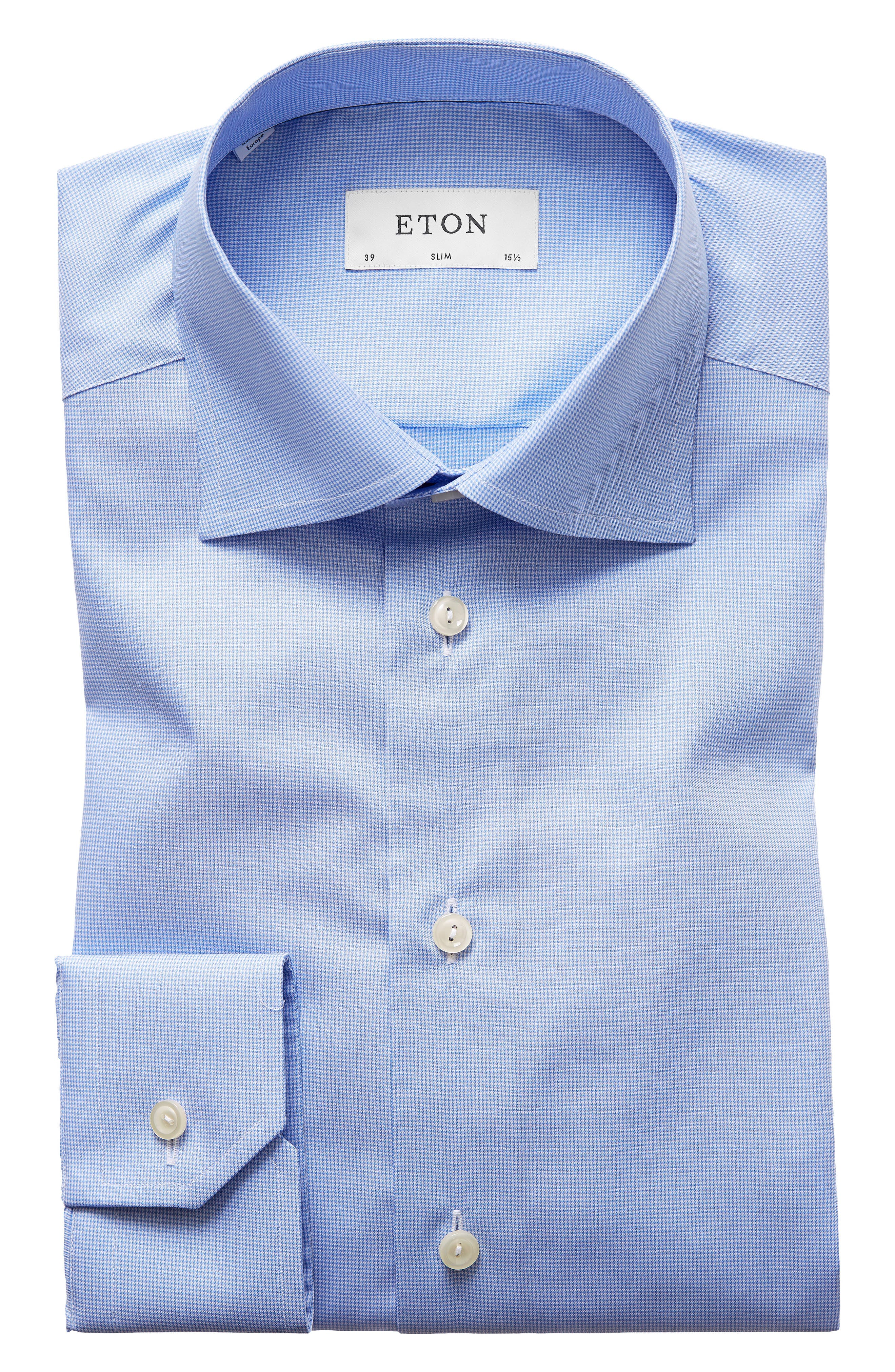 Slim Fit Houndstooth Dress Shirt,                             Main thumbnail 1, color,                             Blue