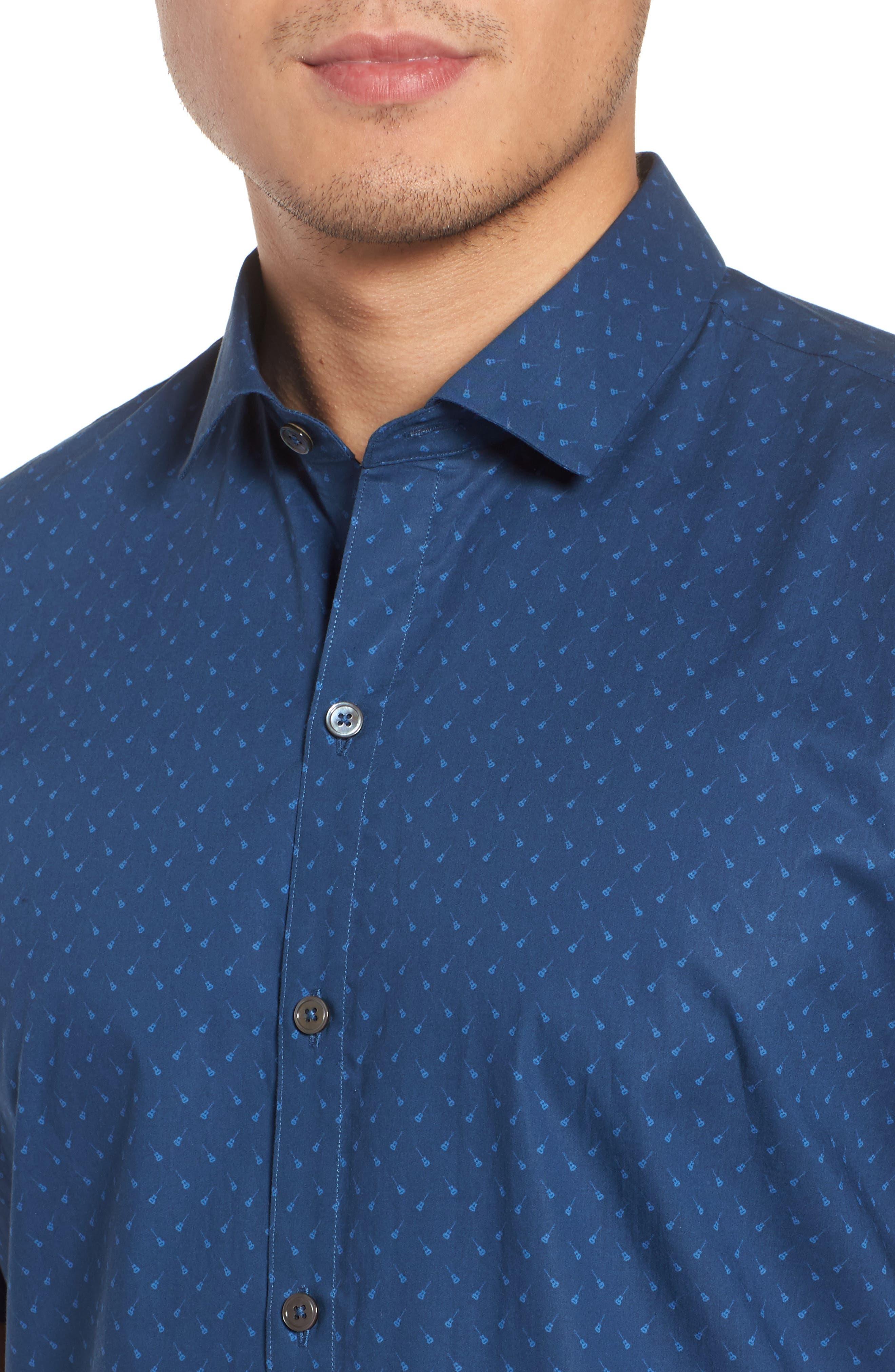 Shelton Slim Fit Guitar Print Sport Shirt,                             Alternate thumbnail 4, color,                             Dark Blue