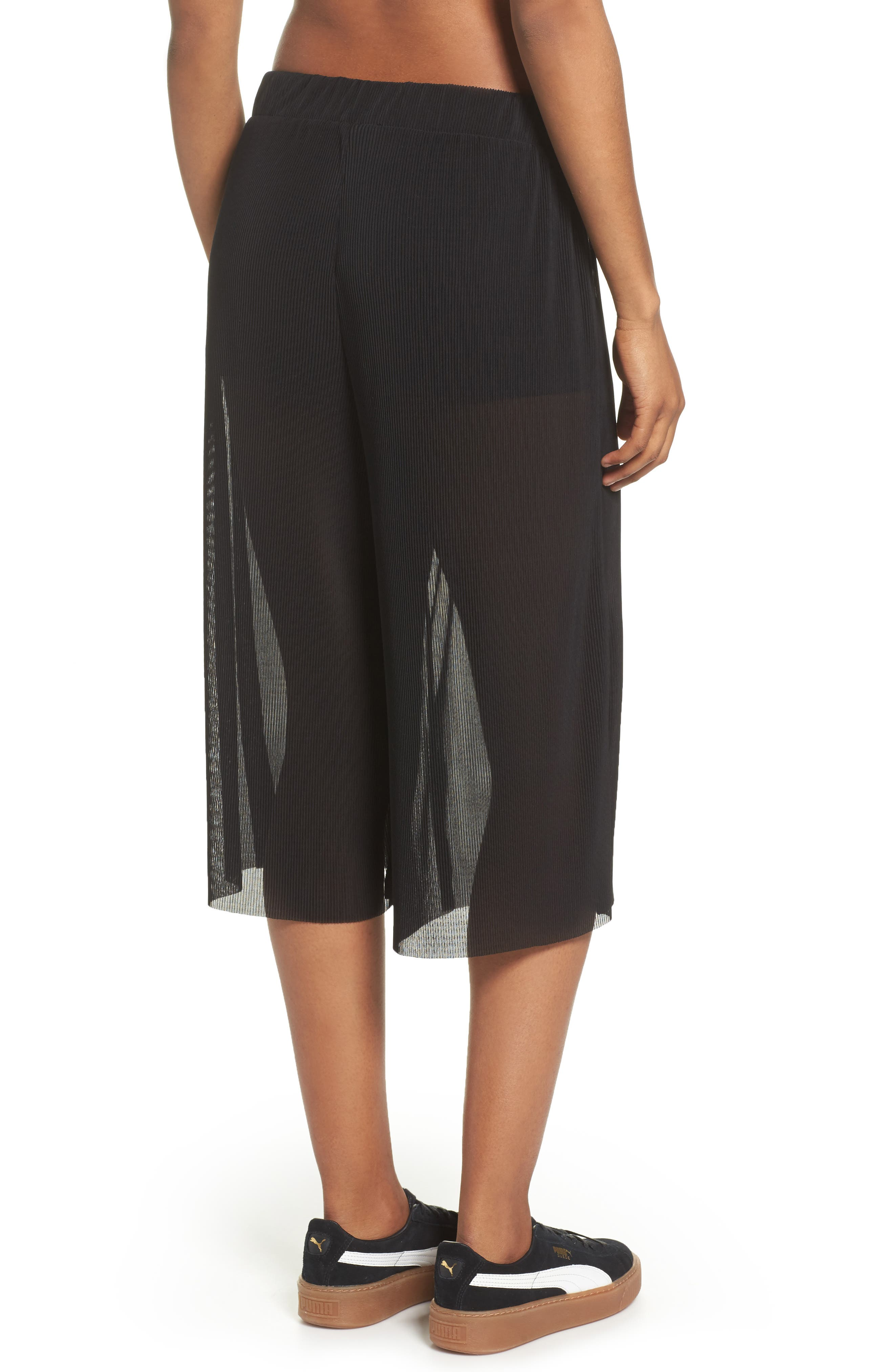 Pleated Culottes,                             Alternate thumbnail 2, color,                             Black