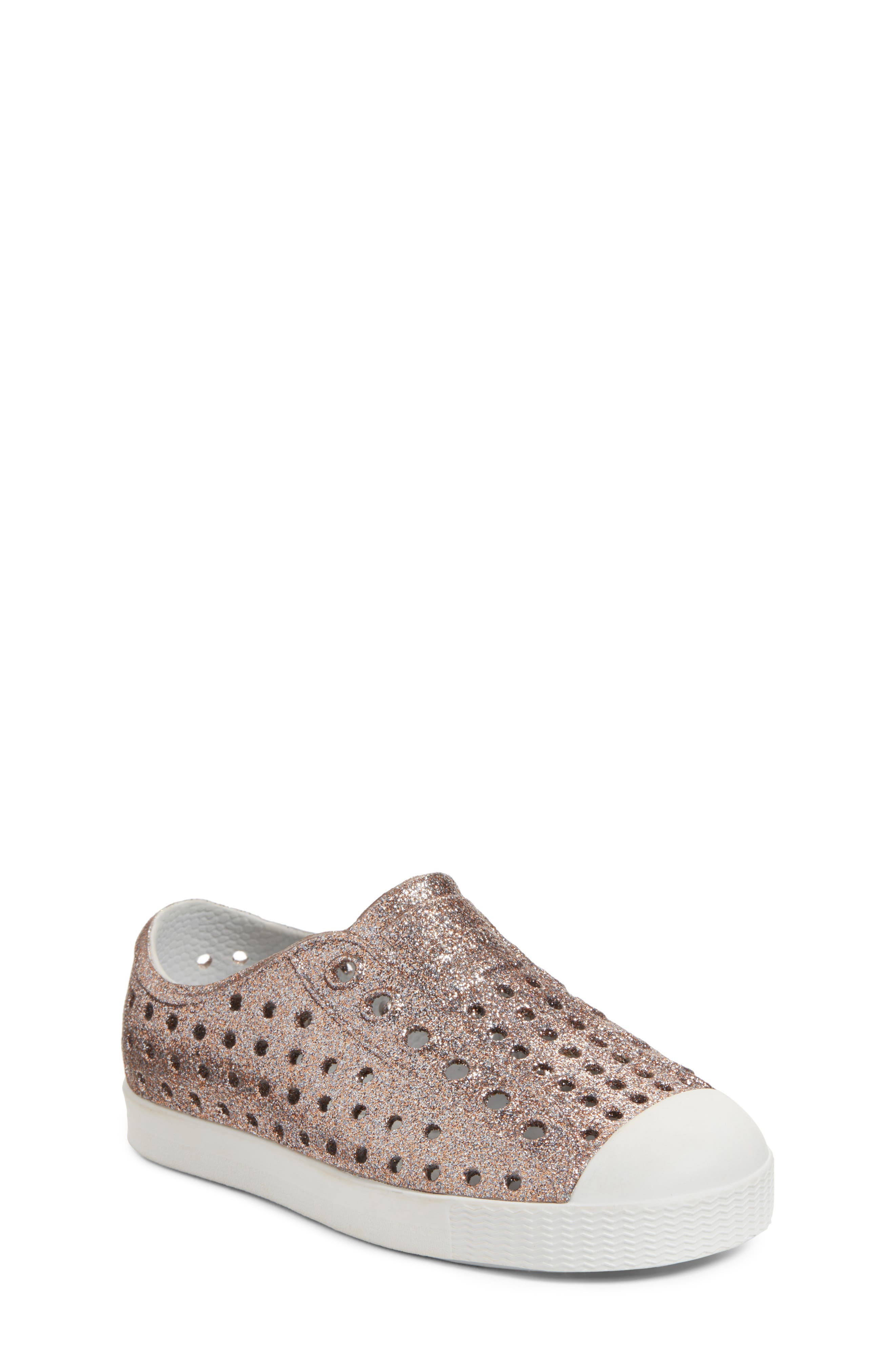 Jefferson - Bling Glitter Slip-On Sneaker,                             Main thumbnail 1, color,                             Metallic Bling/ Shell White