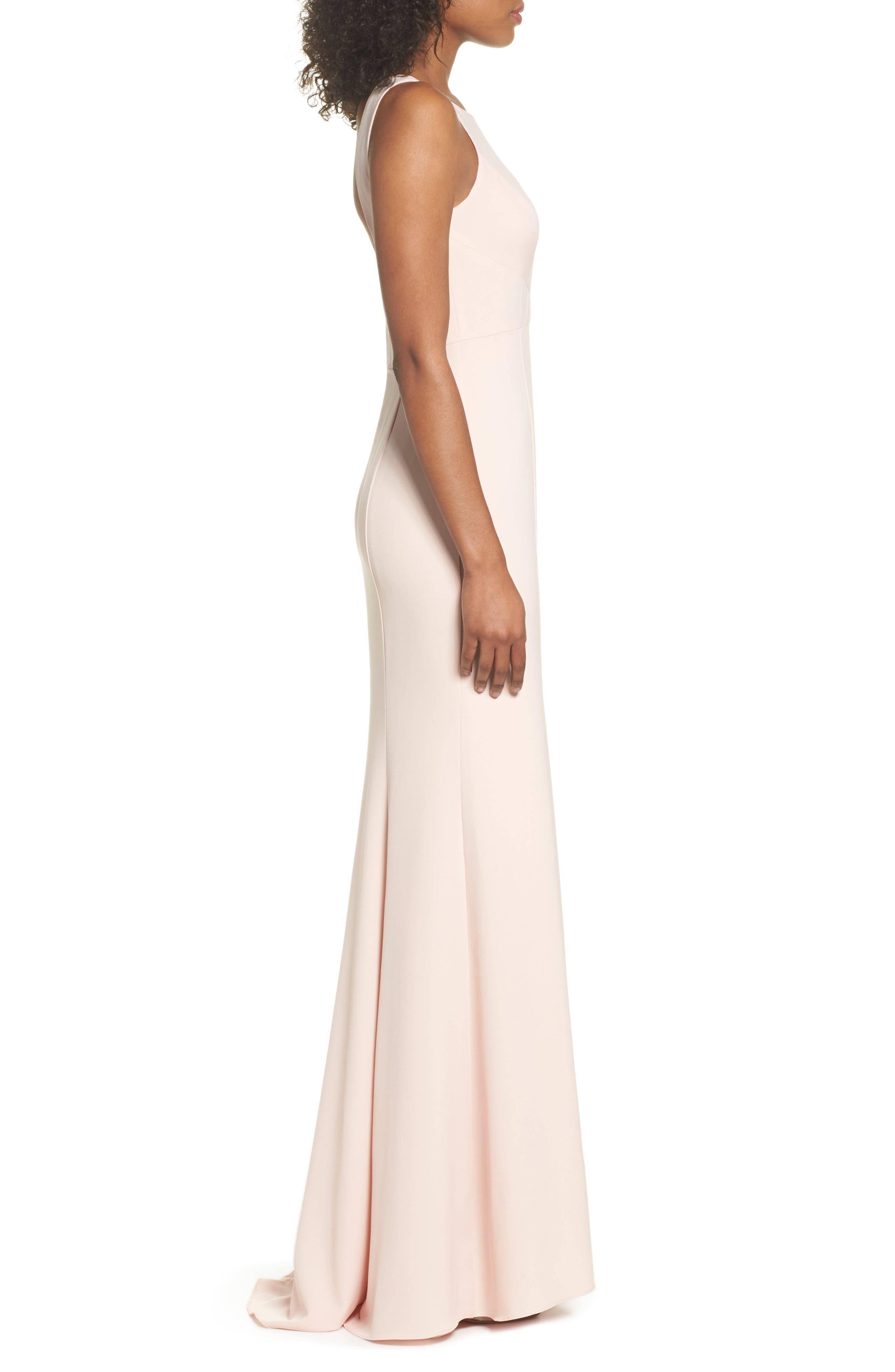 Joelle Low Back Crepe Gown,                             Alternate thumbnail 3, color,                             Blush