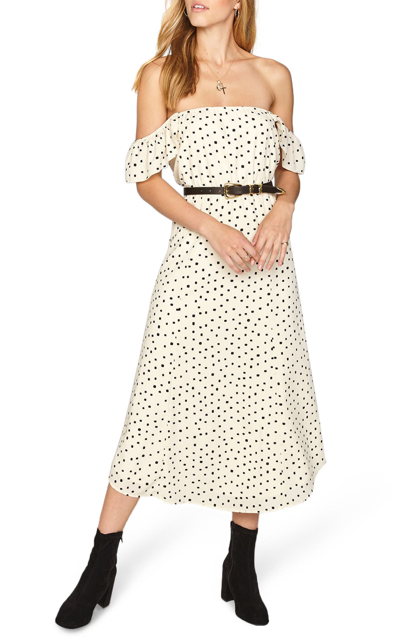 Amuse Society SWEETER THAN YOU OFF THE SHOULDER MIDI DRESS