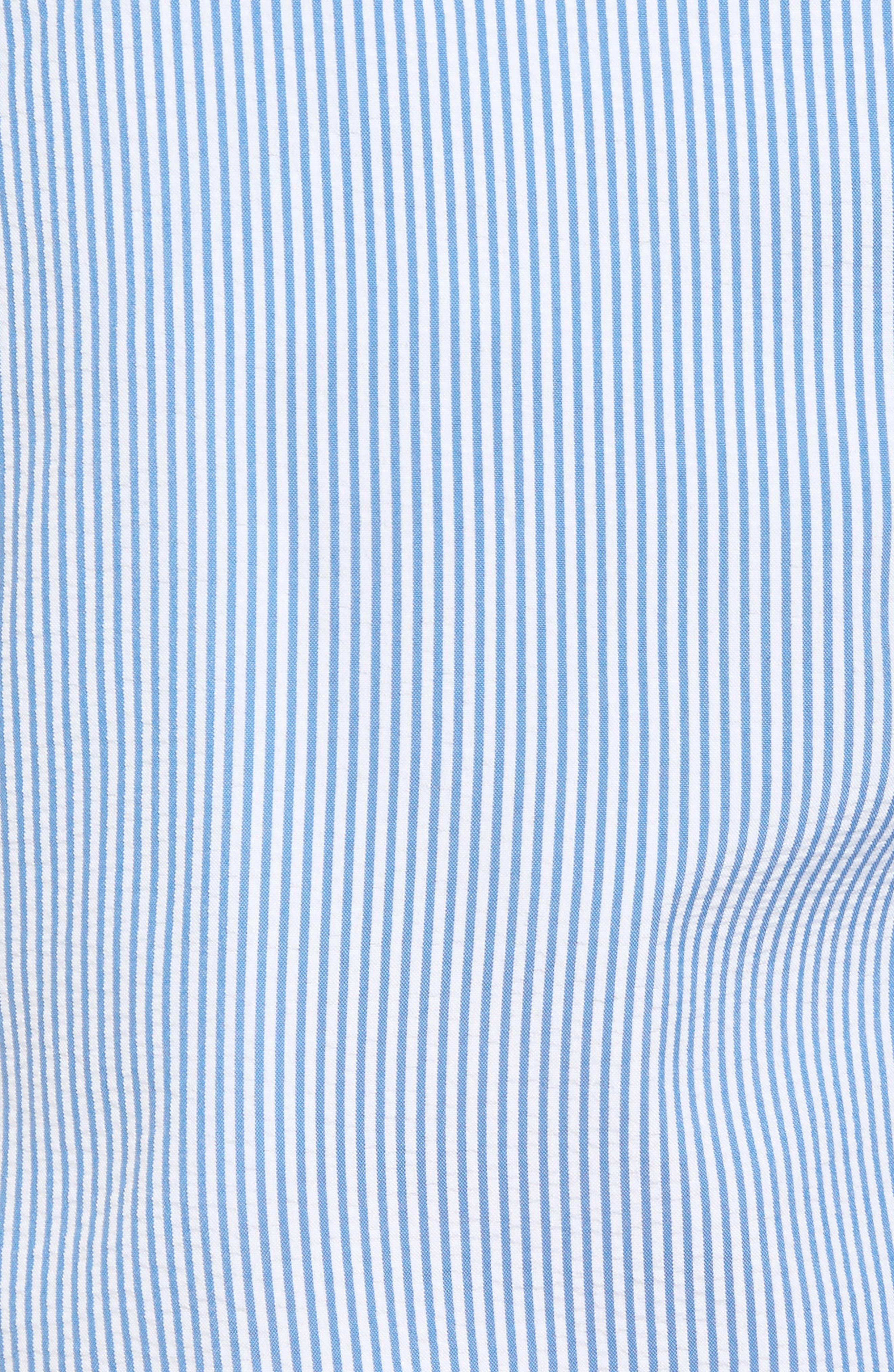 San O Stripe Swim Trunks,                             Alternate thumbnail 5, color,                             Nautical Blue/ White